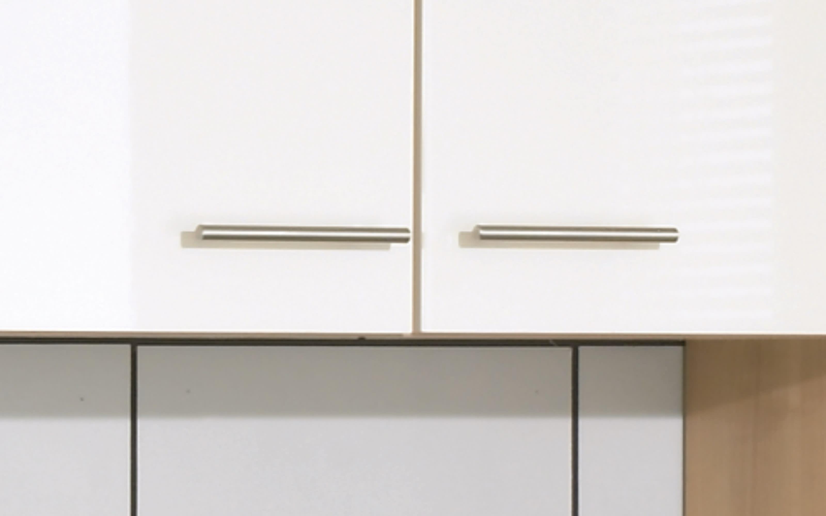 Einbauküche Focus, Lack magnolia Hochglanz, inklusive AEG Elektrogeräte