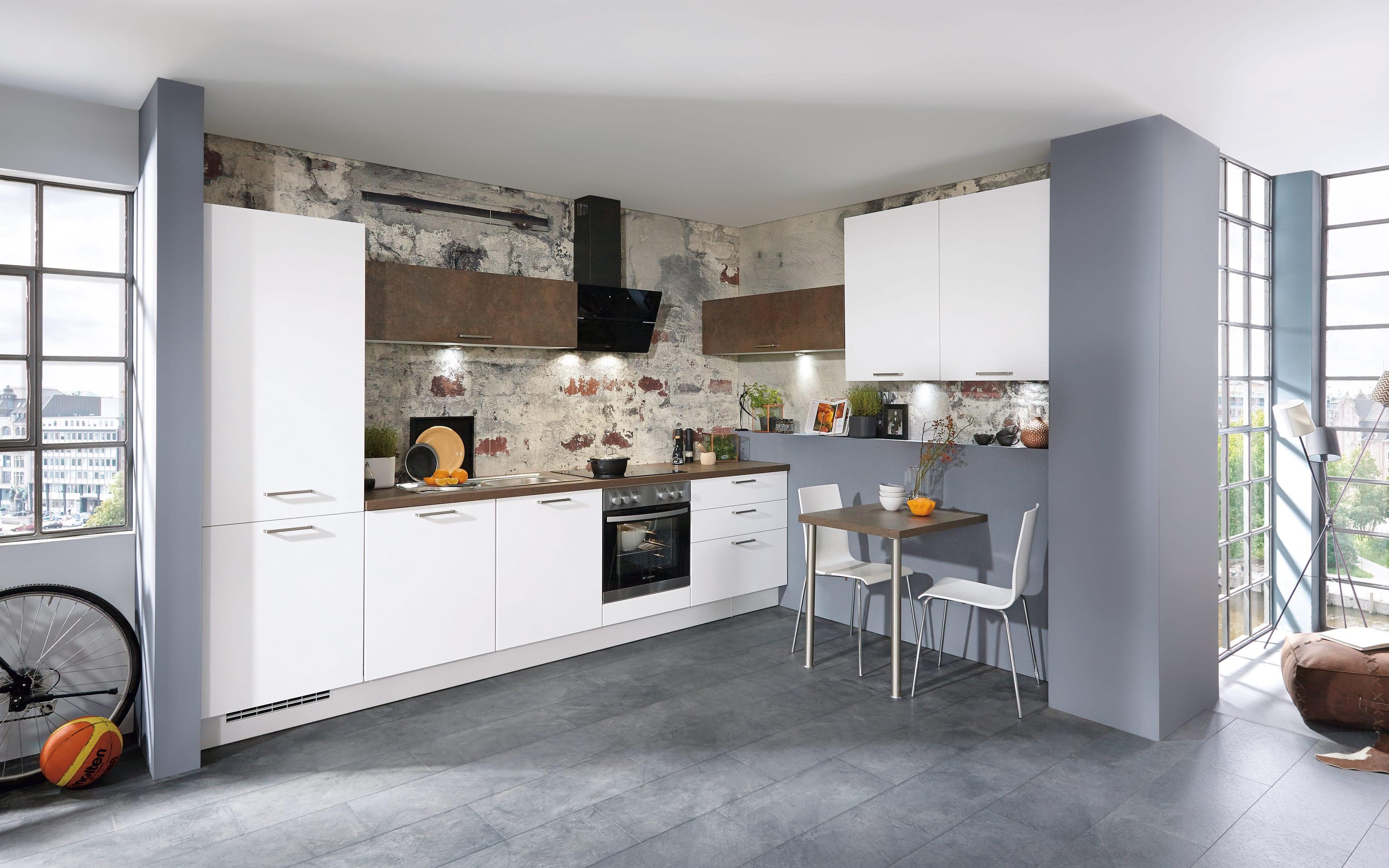 Einbauküche Touch, Lacklaminat alpinweiß supermatt, inklusive Elektrogeräte, inklusive AEG Geschirrspüler