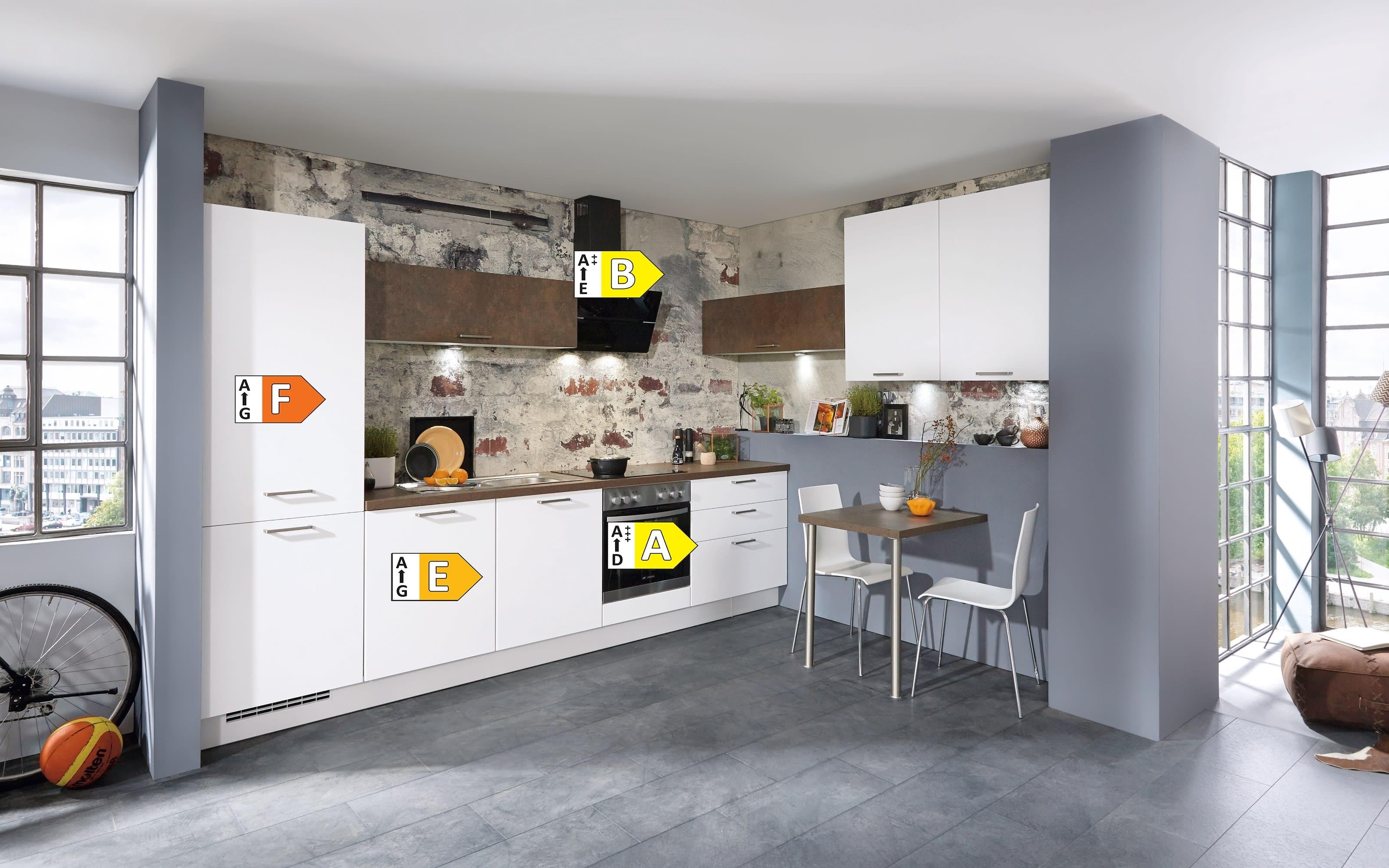 Einbauküche Touch, alpinweiß Lacklaminat supermatt, inklusive Elektrogeräte