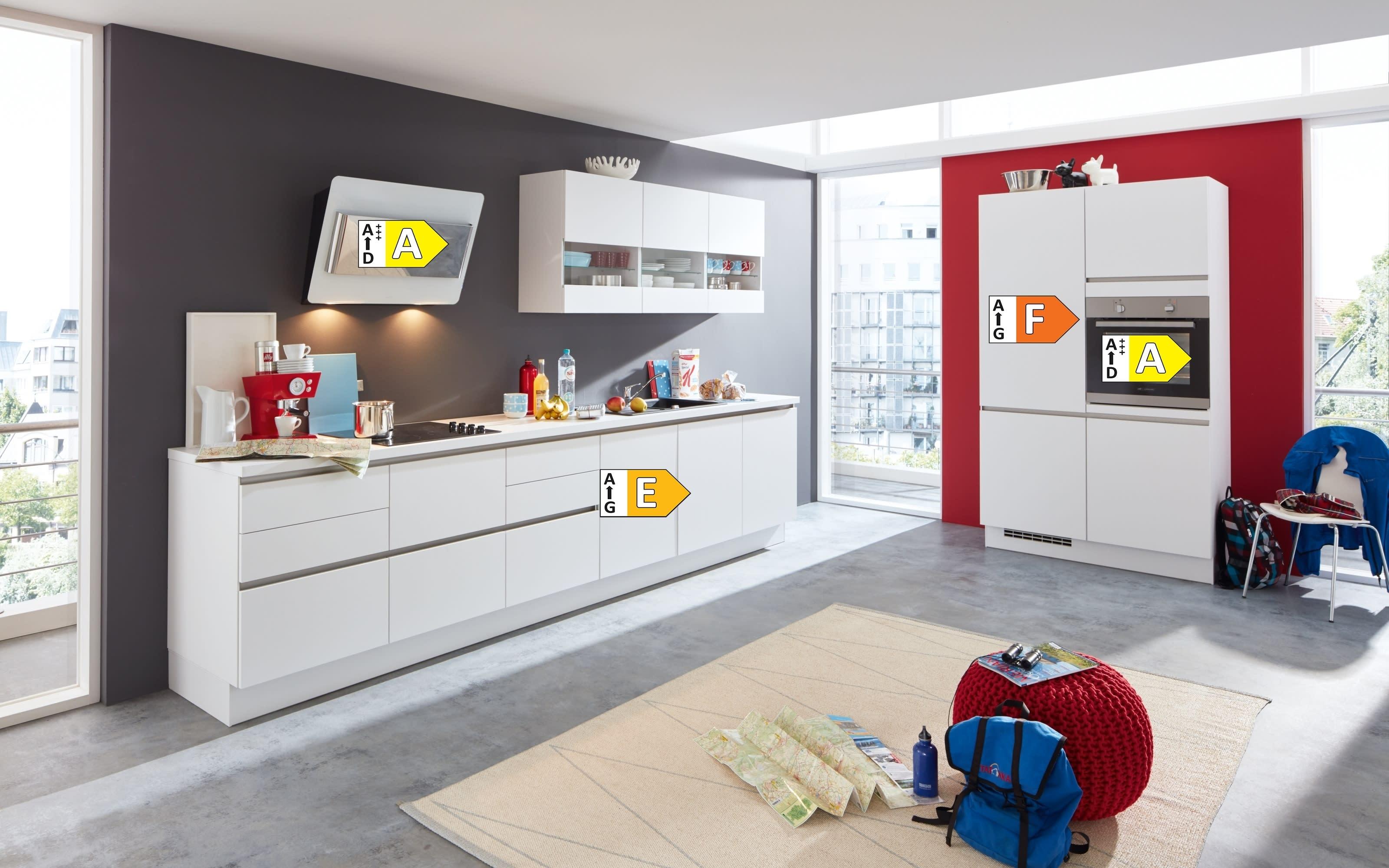 Einbauküche Laser, alpinweiß, inklusive Elektrogeräte