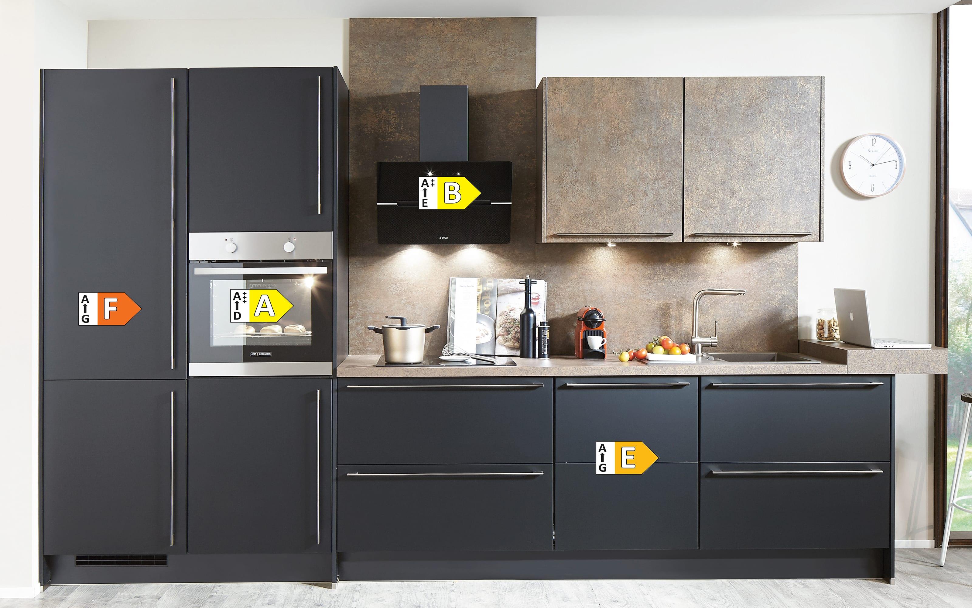 Einbauküche Touch, Lacklaminat supermatt schwarz, inklusive Elektrogeräte