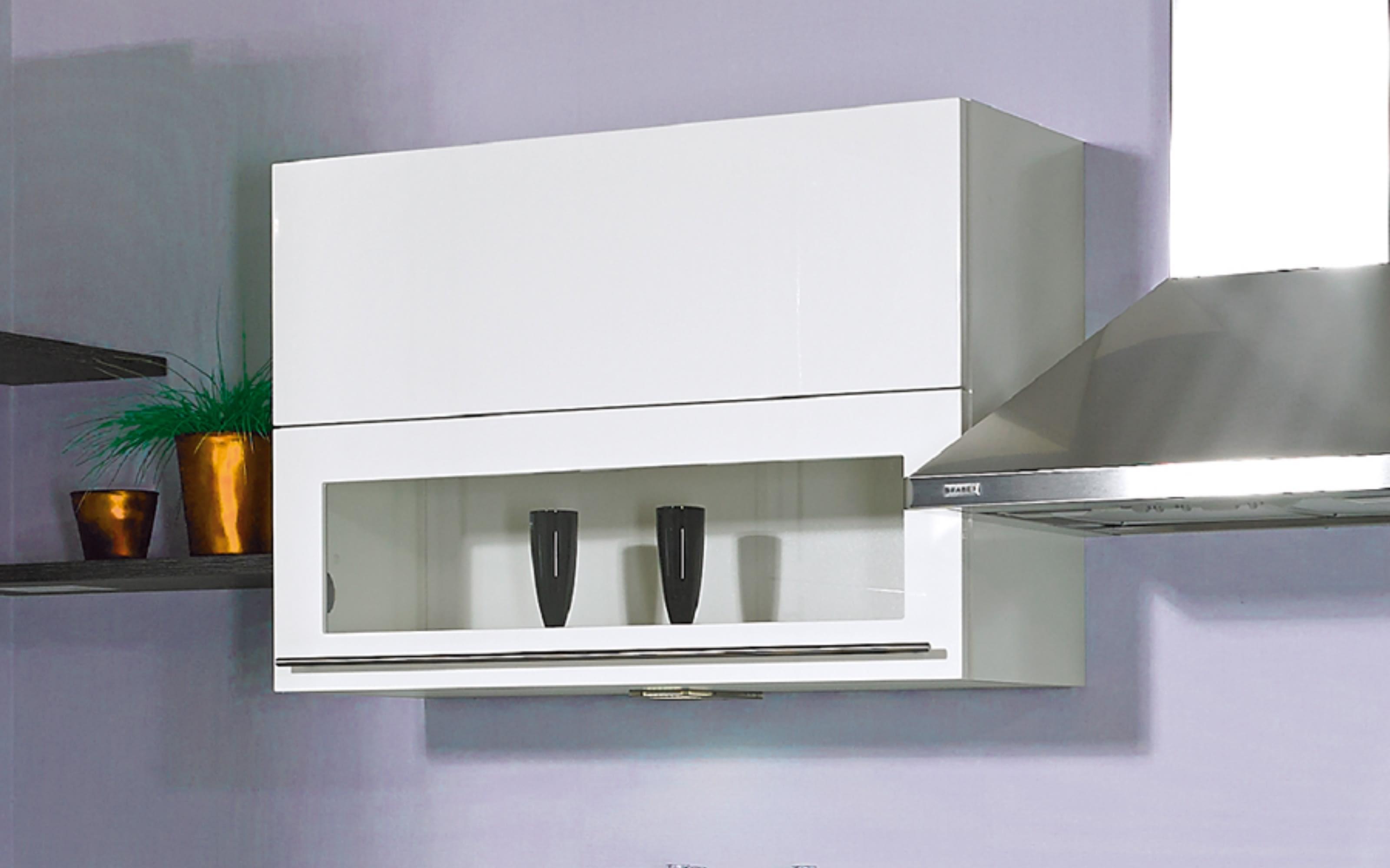Einbauküche Flash, Hochglanz Lacklaminat magnolia, inklusive Elektrogeräte, inklusive AEG Geschirrspüler