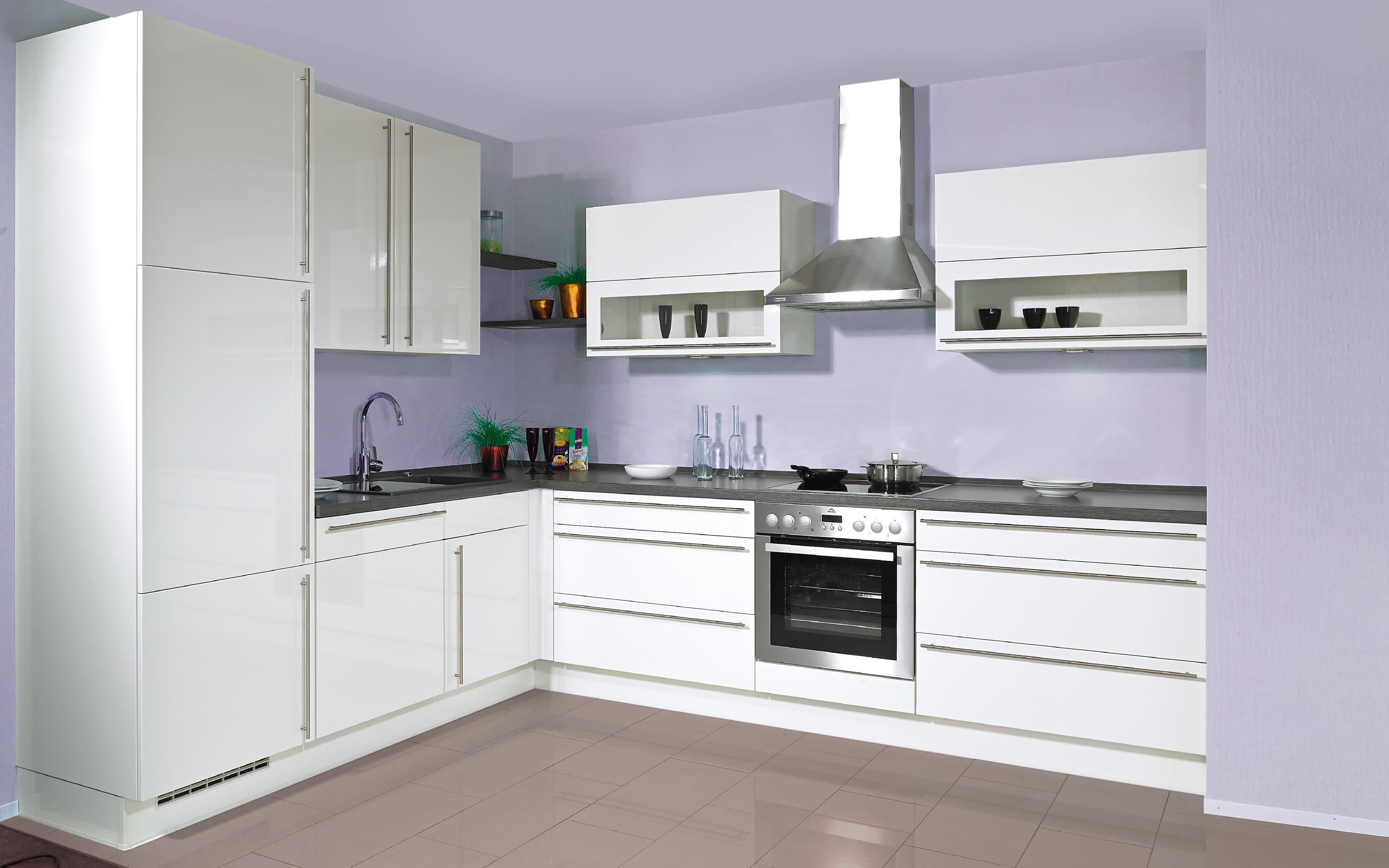 Einbauküche Flash, Lacklaminat Hochglanz magnolia, inklusive Elektrogeräte