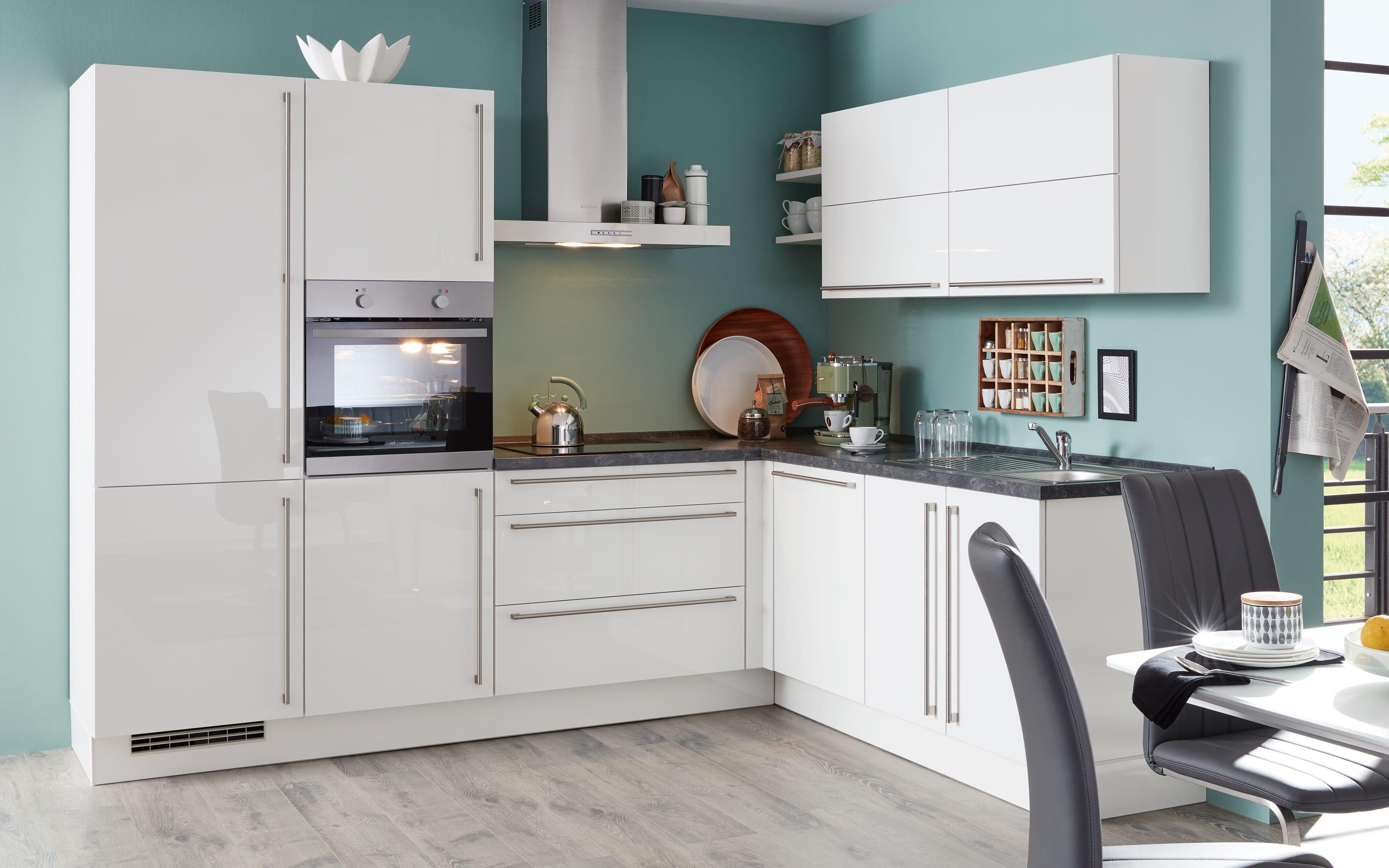 Einbauküche Flash, Lacklaminat Hochglanz weiß, inklusive Elektrogeräte