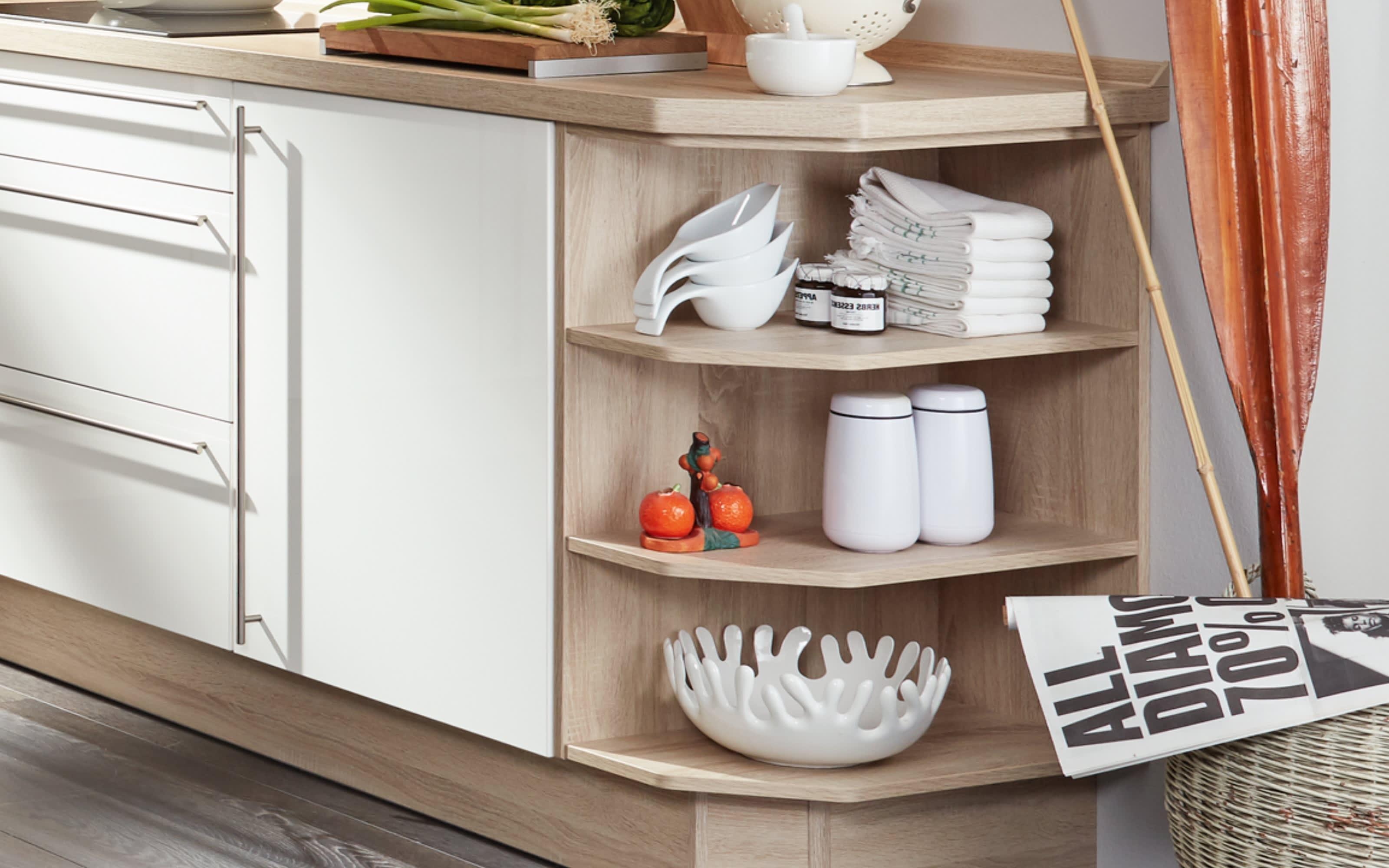 Einbauküche Flash, Hochglanz Lacklaminat magnolia, inklusive Elektrogeräte