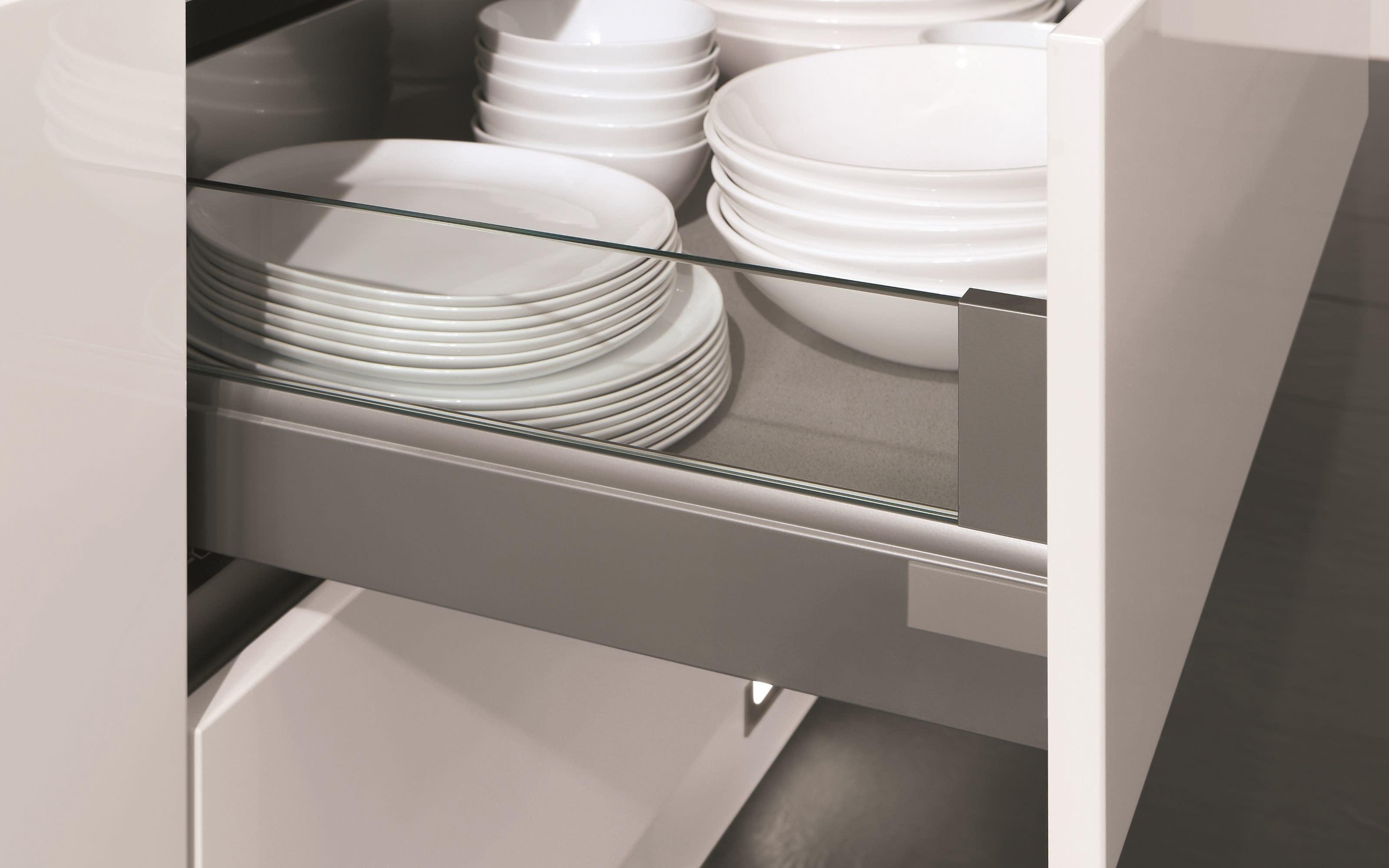 Einbauküche Riva, Weißbeton Nachbildung, inklusive Elektrogeräte