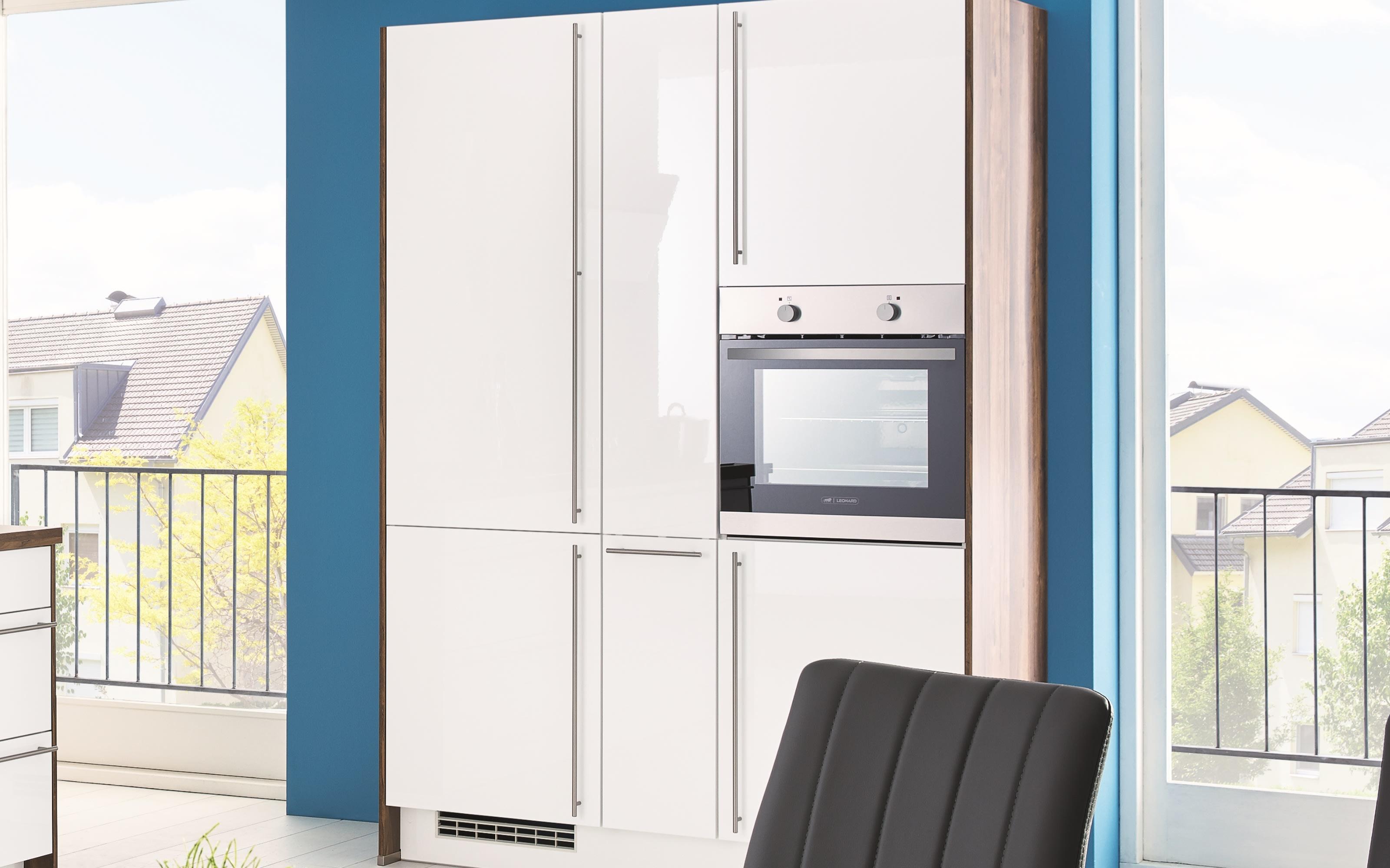 Einbauküche Flash, Lacklaminat weiß Hochglanz, inklusive Elektrogeräte