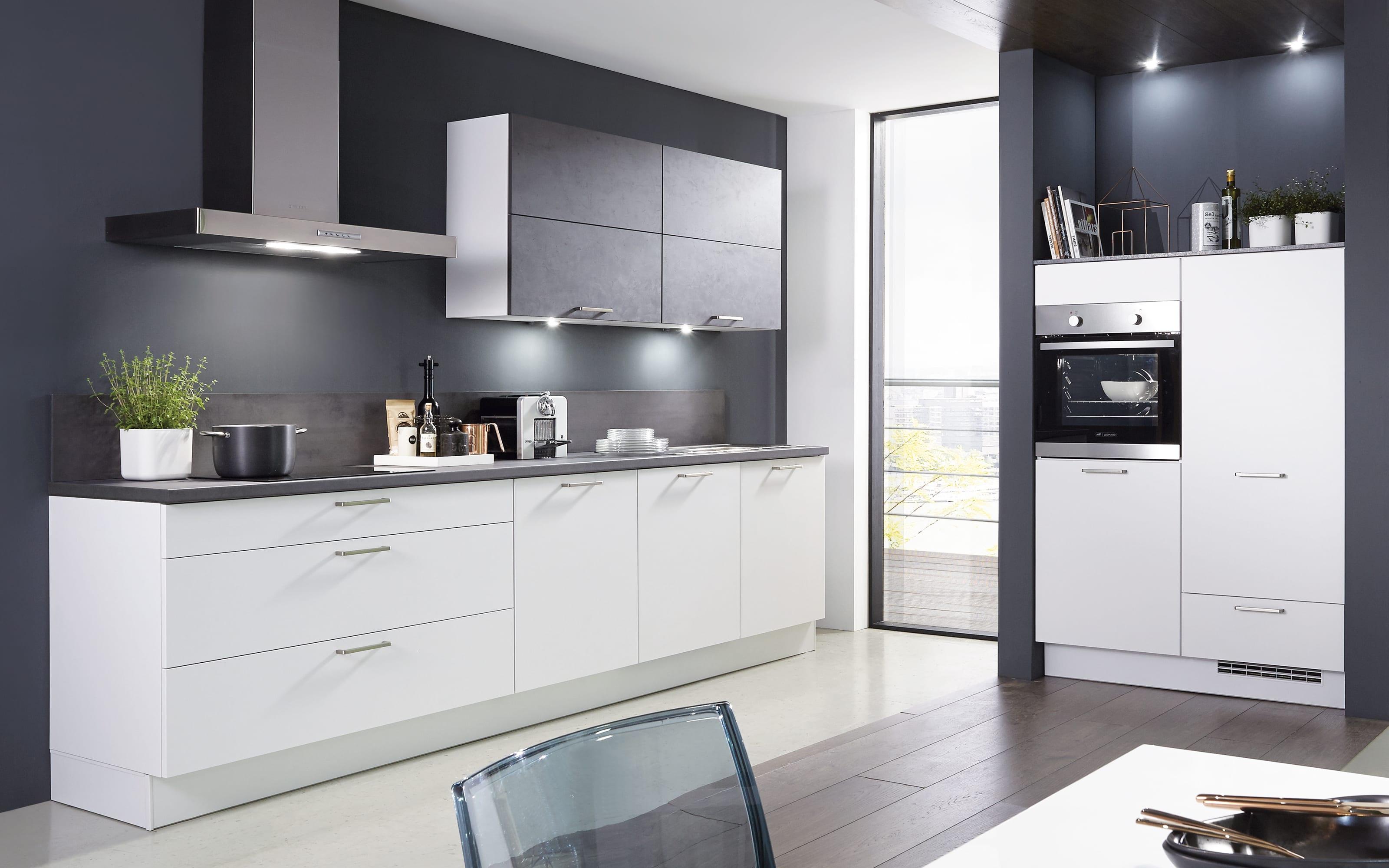 Einbauküche Fashion 168, alpinweiß matt Lack, inklusive Elektrogeräte, inklusive Neff Geschirrspüler