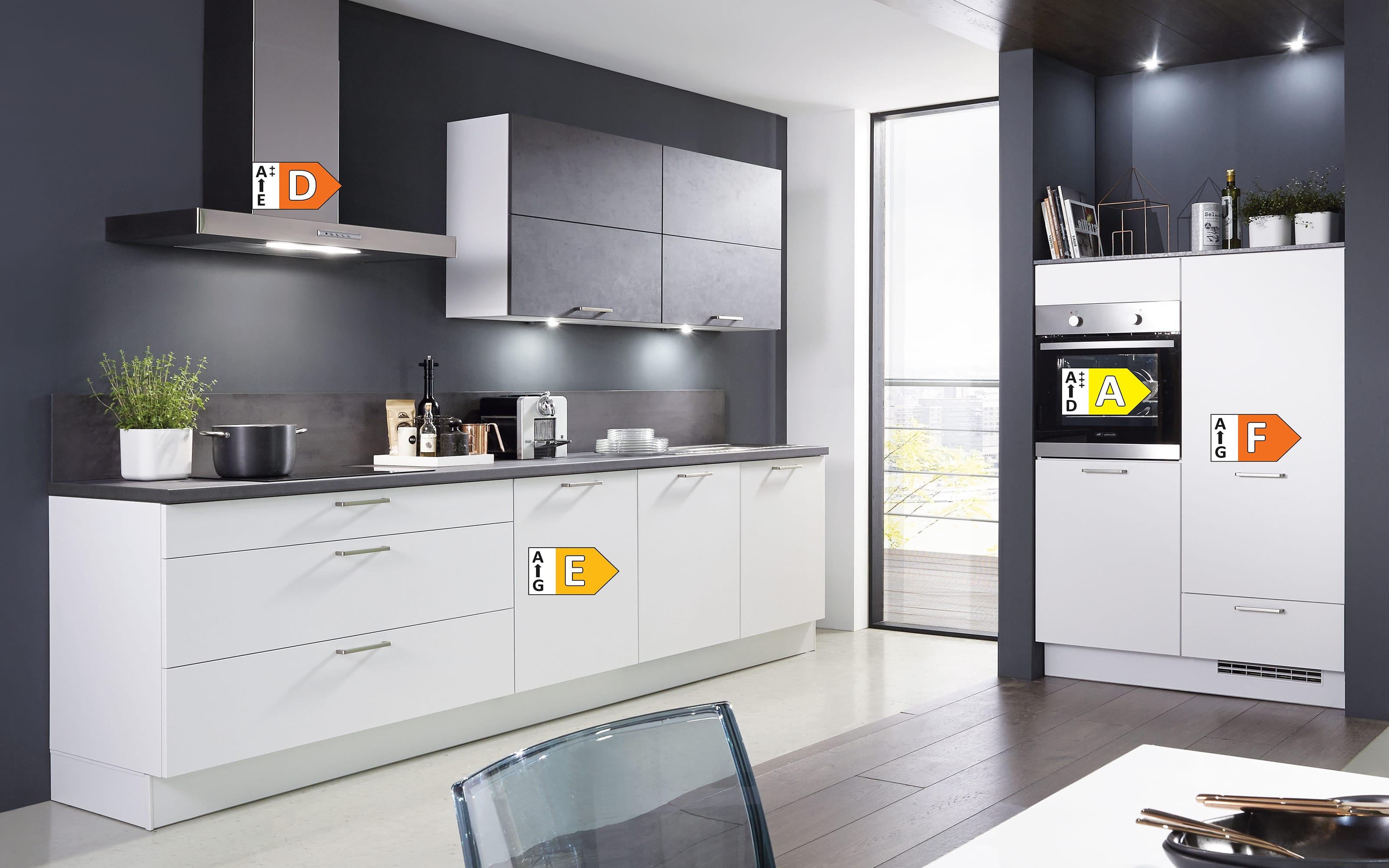 Einbauküche Fashion 168, alpinweiß matt Lack, inklusive Elektrogeräte