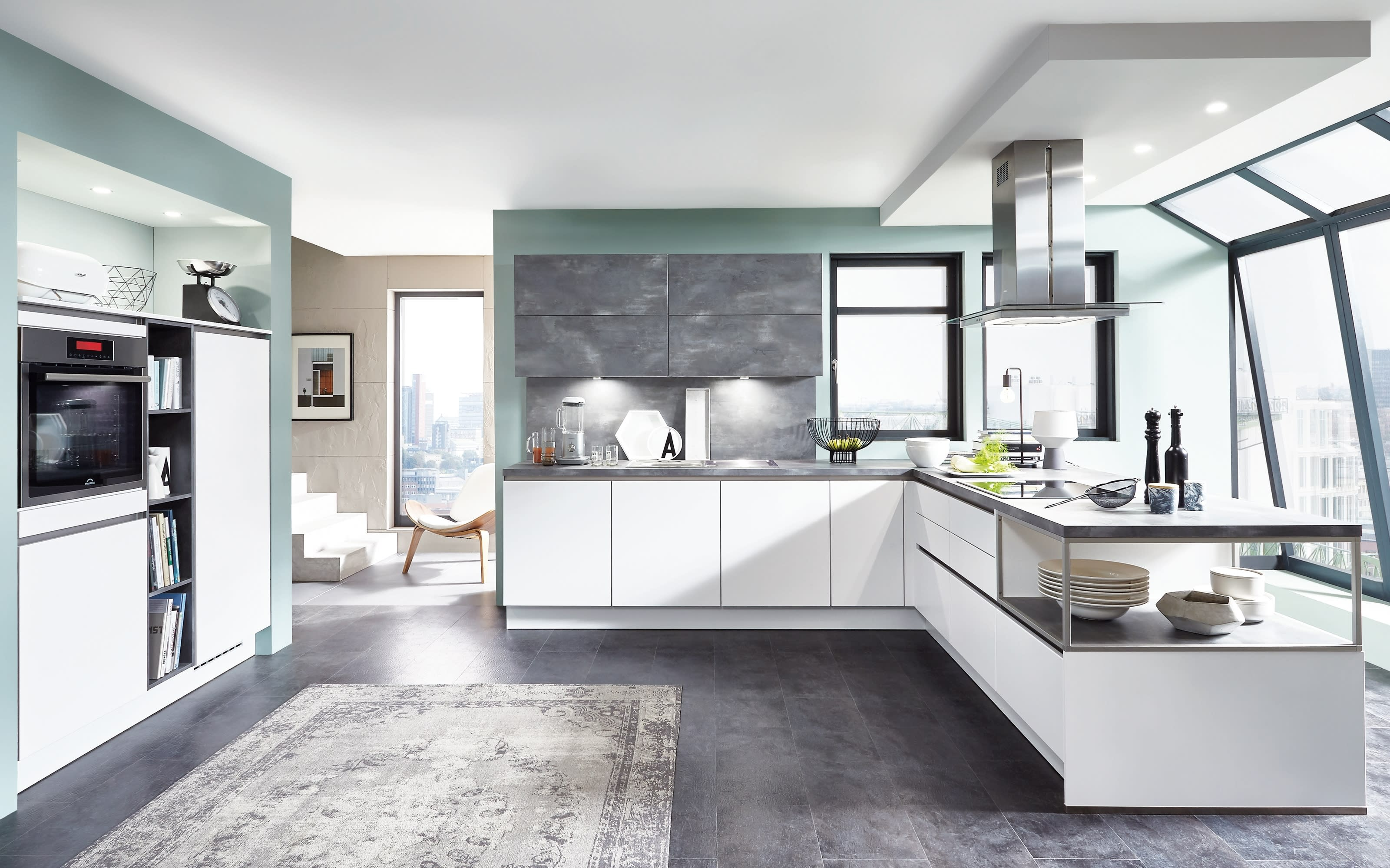 Einbauküche Fashion, alpinweiß, inklusive Elektrogeräte, inklusive AEG Geschirrspüler