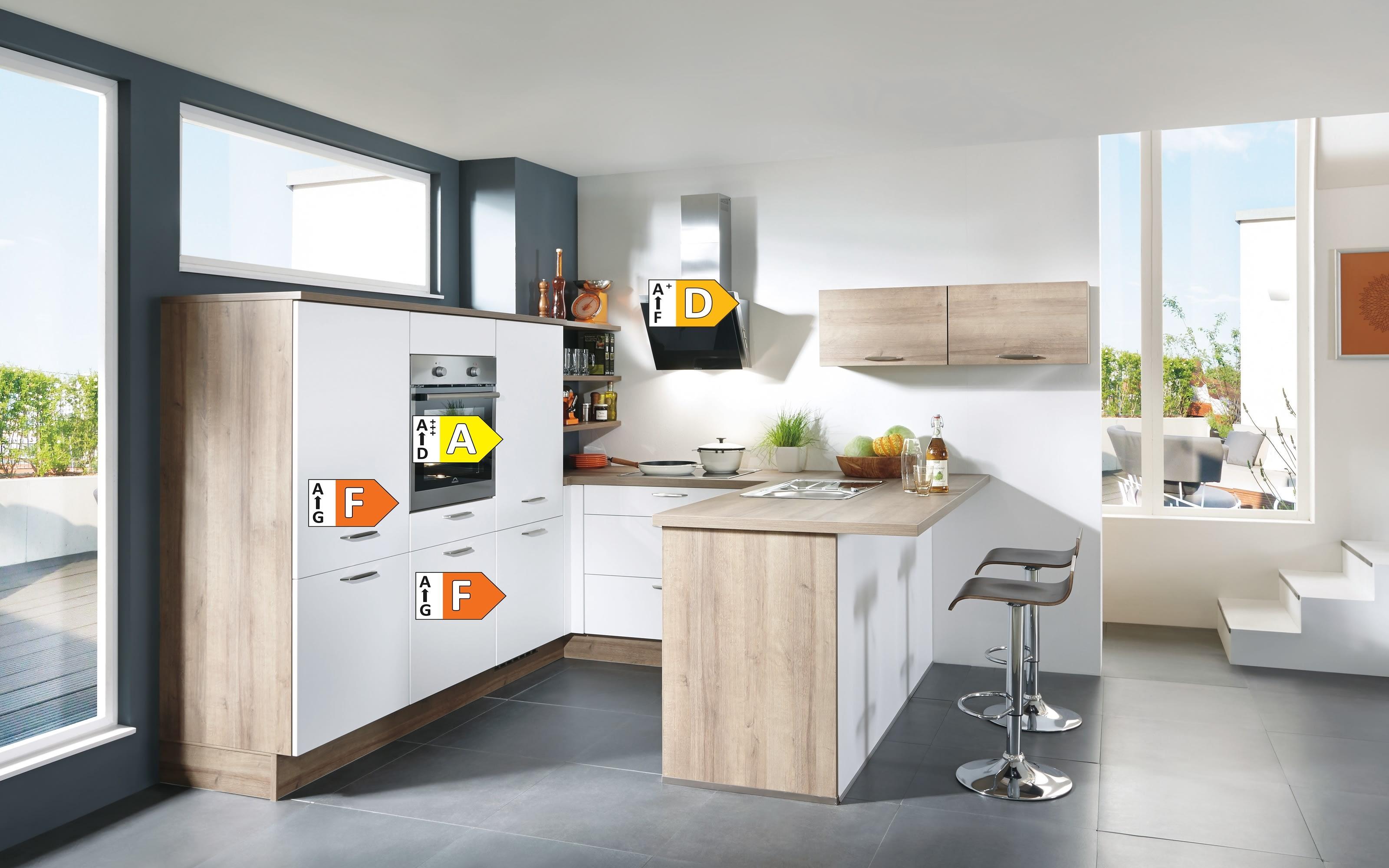 Einbauküche Flash, magnolie Hochglanz, inklusive Elektrogeräte