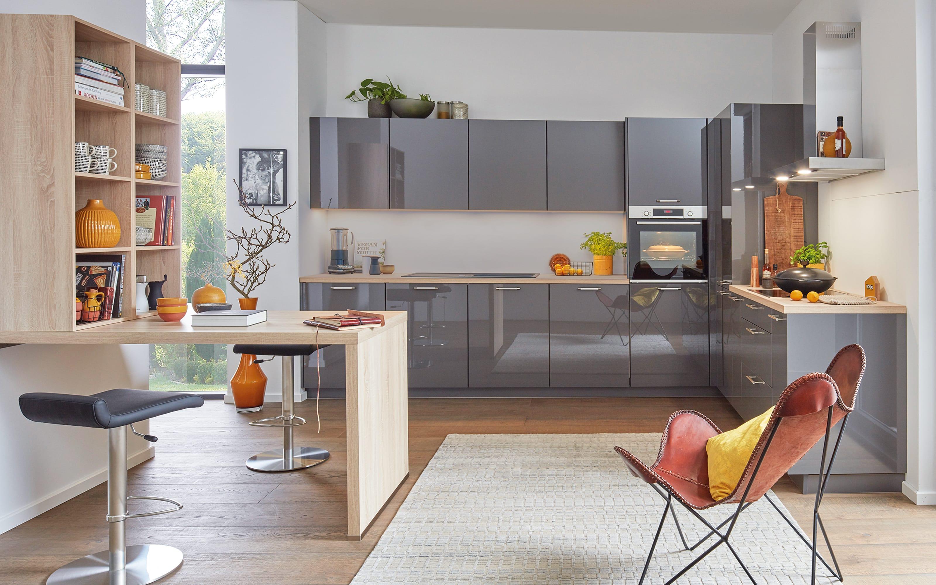 Einbauküche Flash, schiefergrau Hochglanz, inklusive Miele Backofen, inklusive Elektrogeräte
