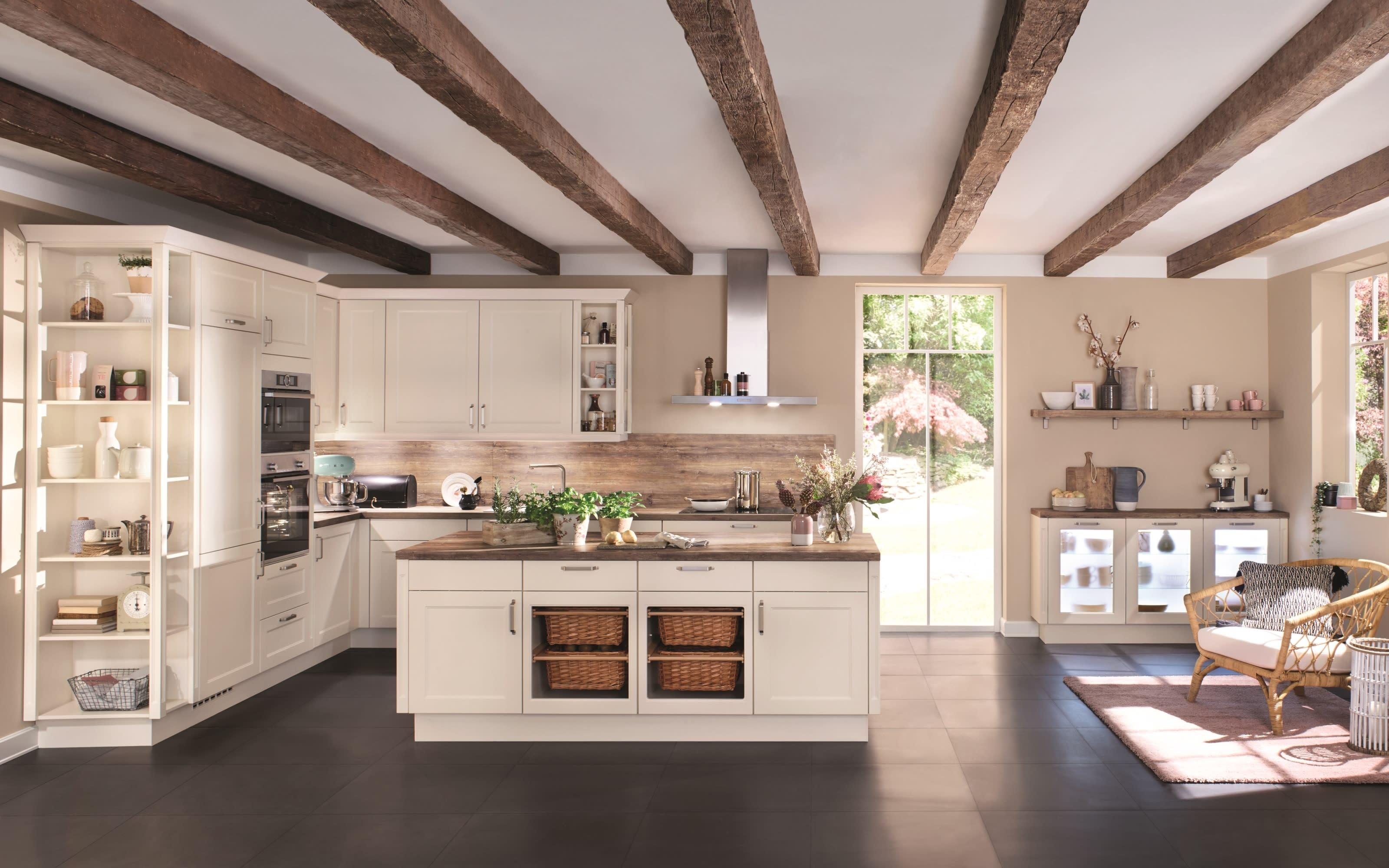 Einbauküche Chalet, magnolia matt, inklusive Siemens Elektrogeräte