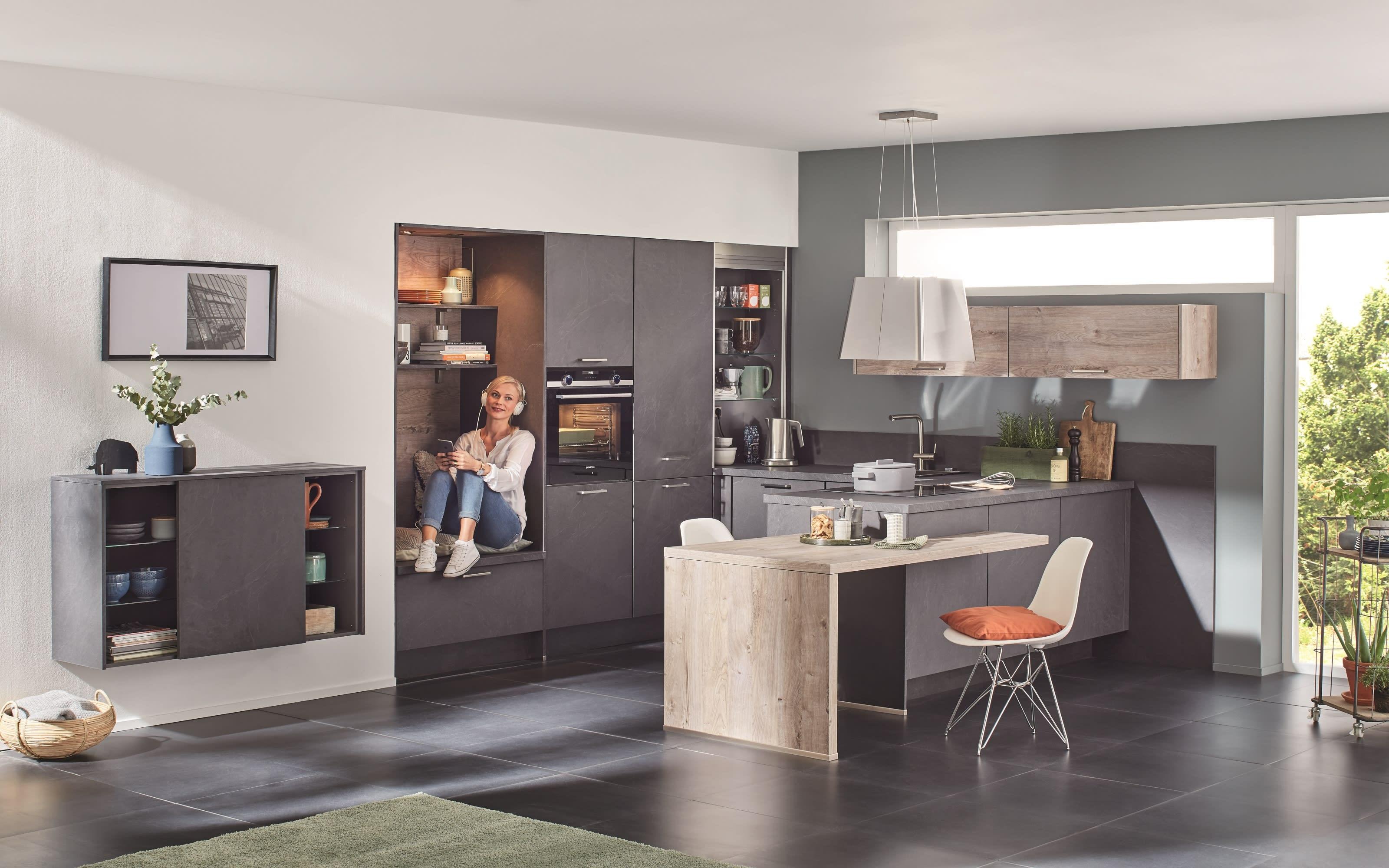 Einbauküche StoneArt, grauschiefer, inklusive Neff Elektrogeräte