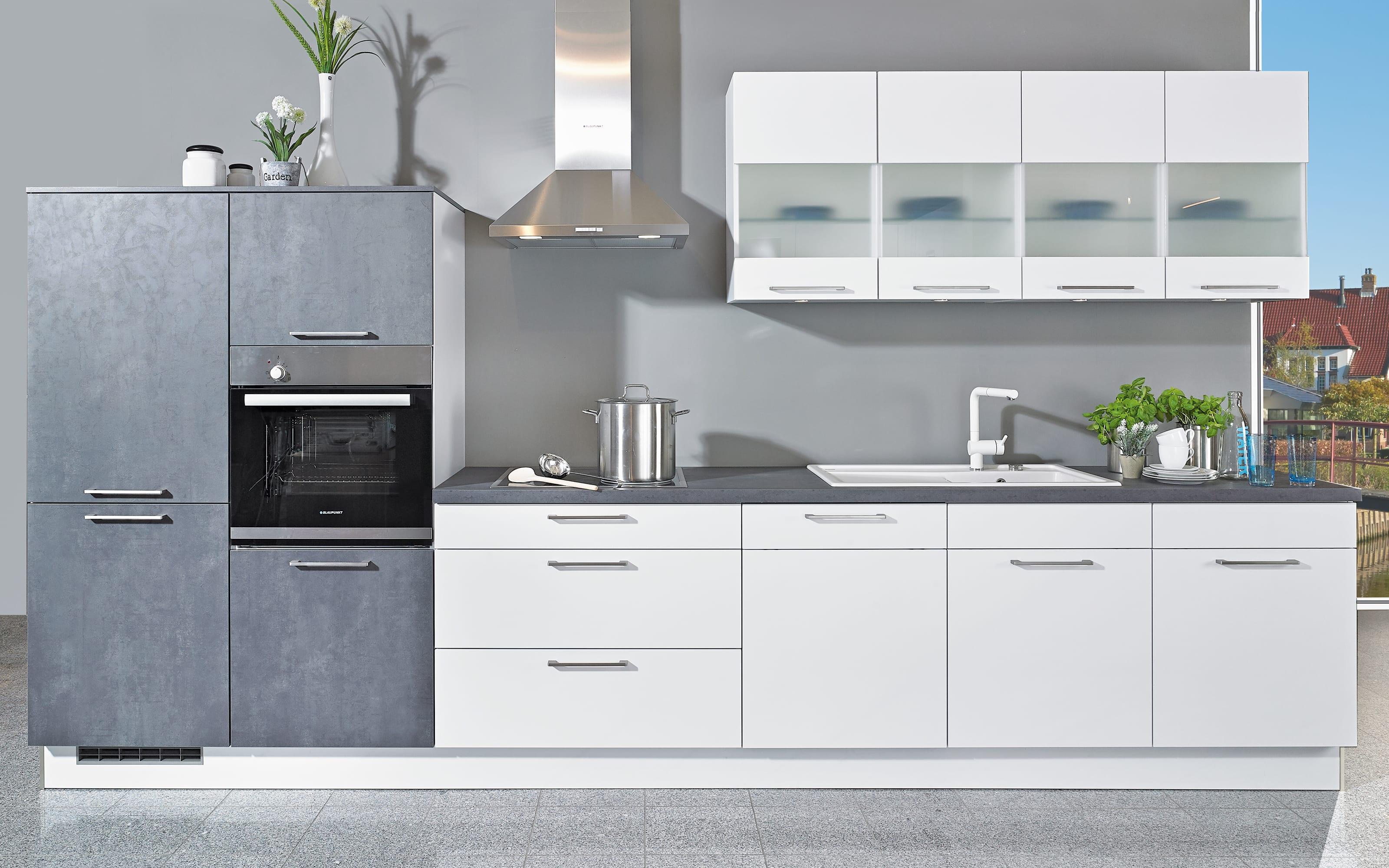 Einbauküche Uno, weiß, inklusive Bauknecht Elektrogeräte