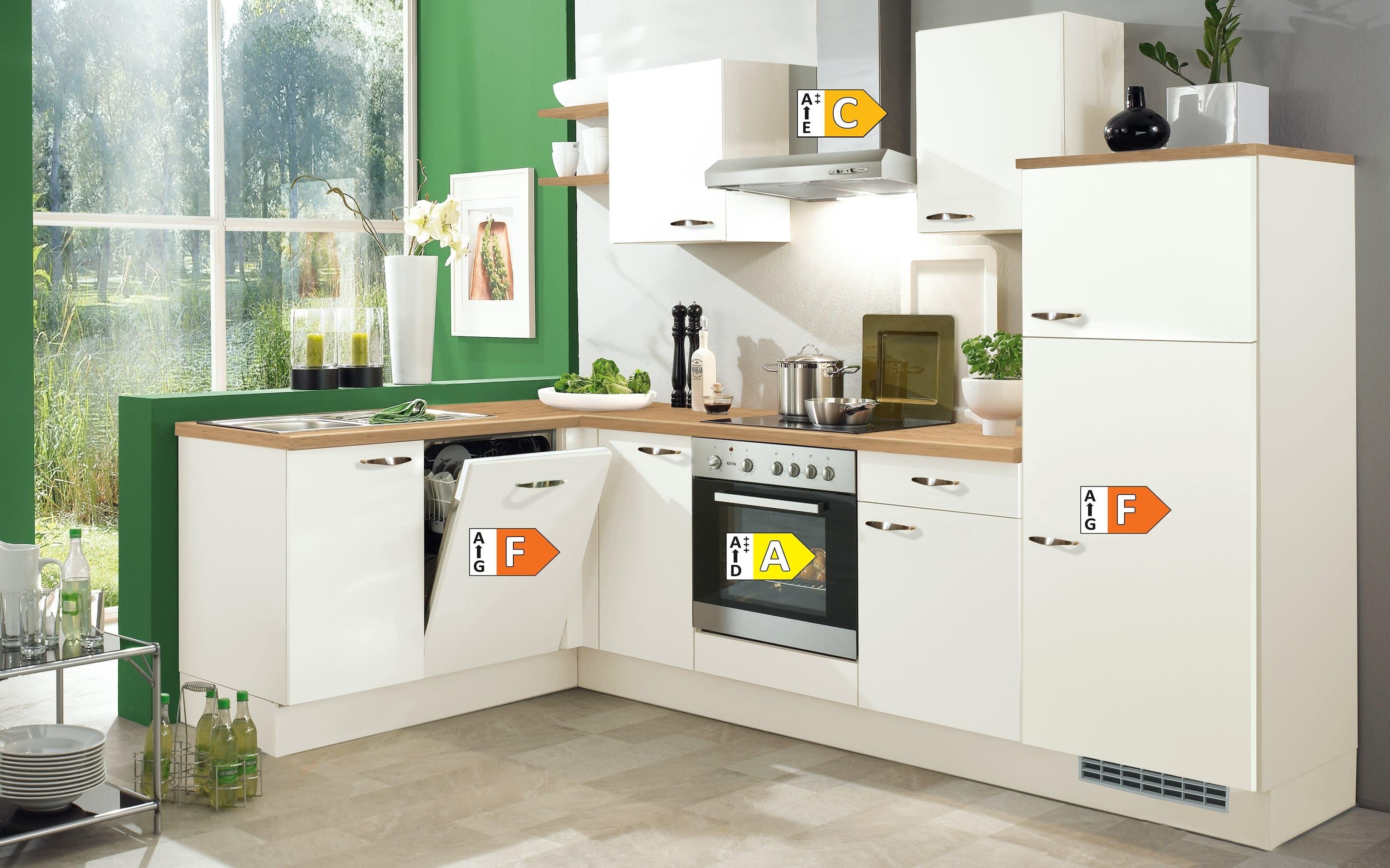 Einbauküche IP1200 in magnolienweiß, inklusive Privileg Elektrogeräte