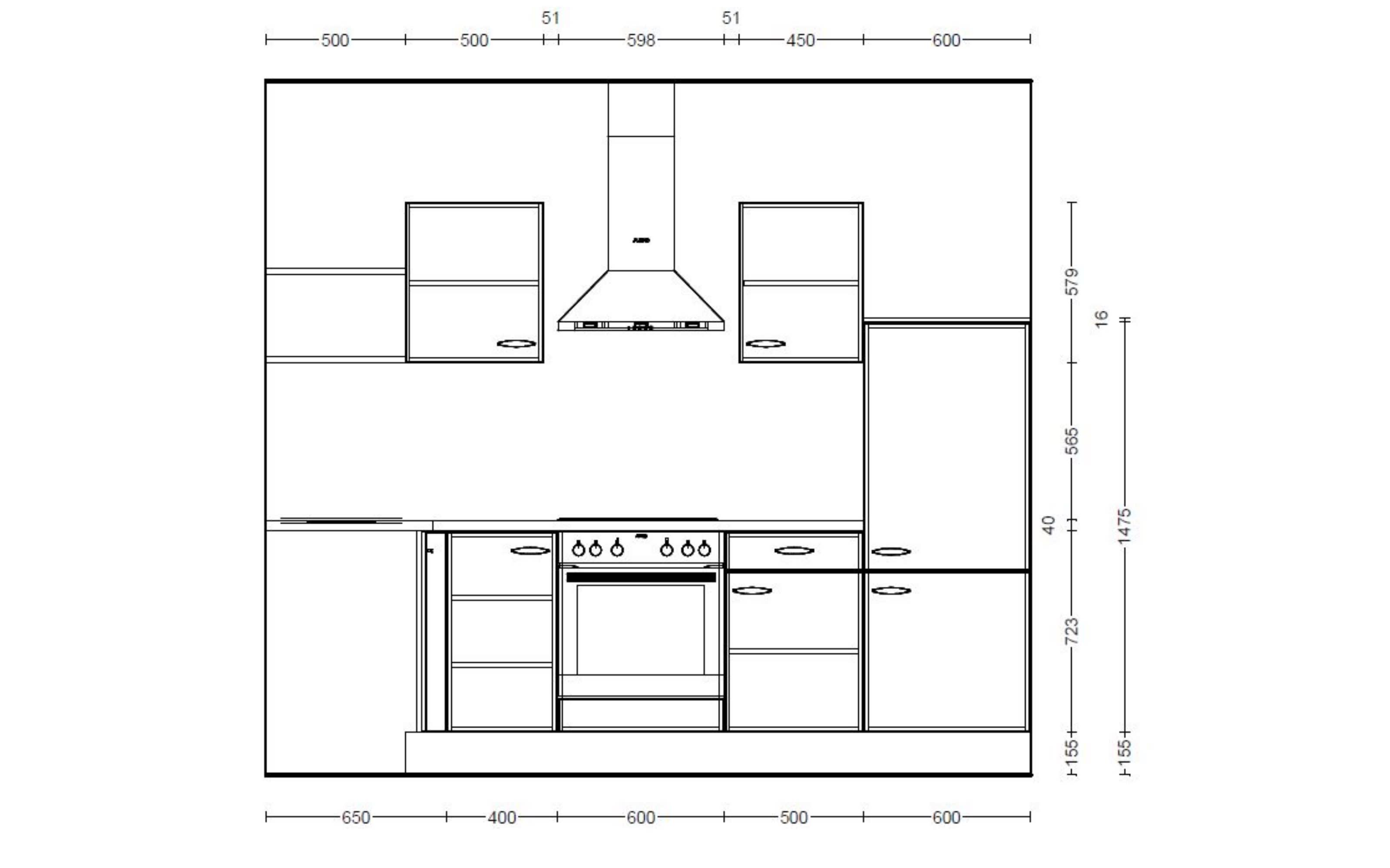 Einbauküche IP1200, magnolienweiß, inklusive Elektrogeräte