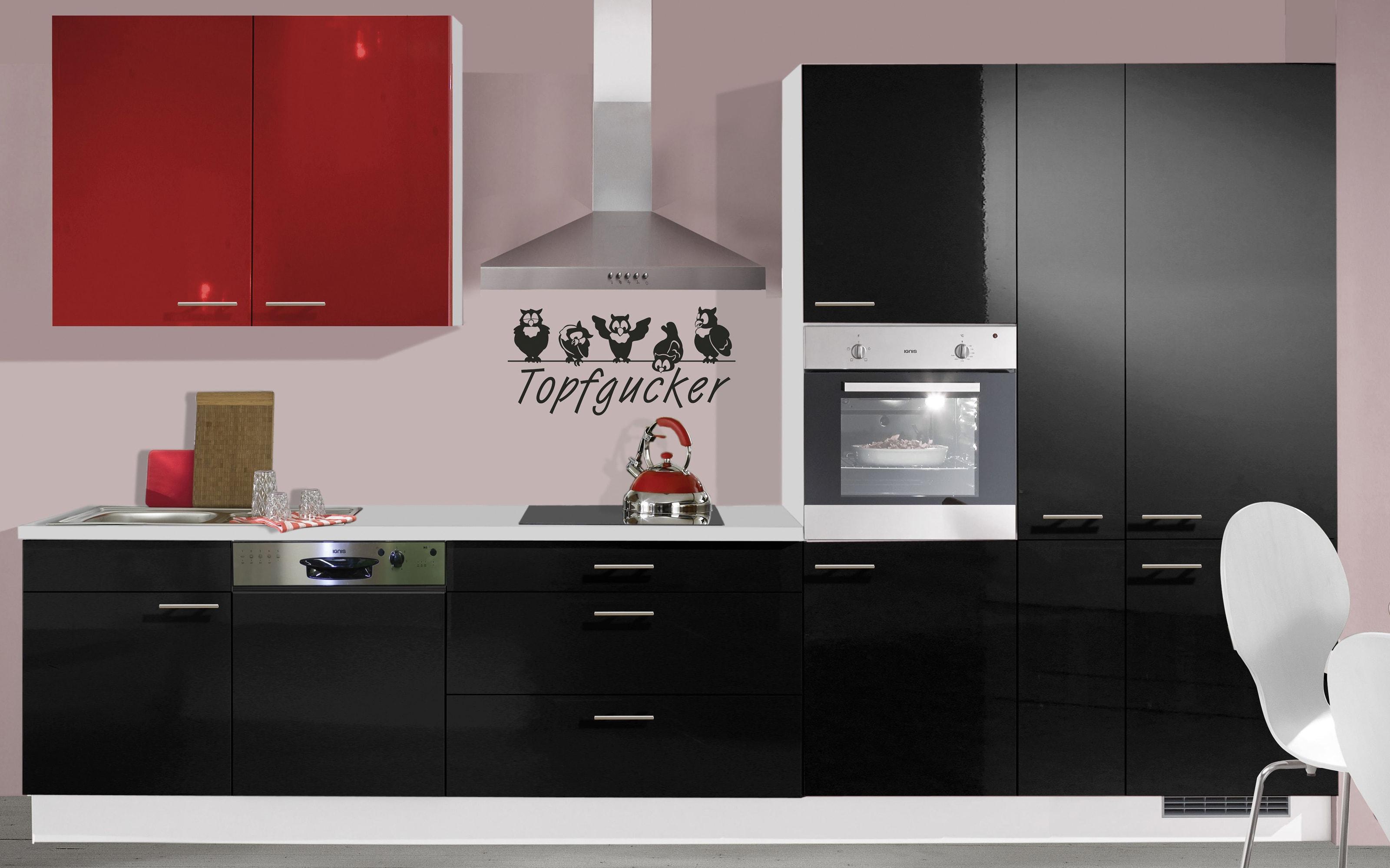 Einbauküche IP4050, schwarz Hochglanz, inklusive Elektrogeräte, inklusive AEG Geschirrspüler