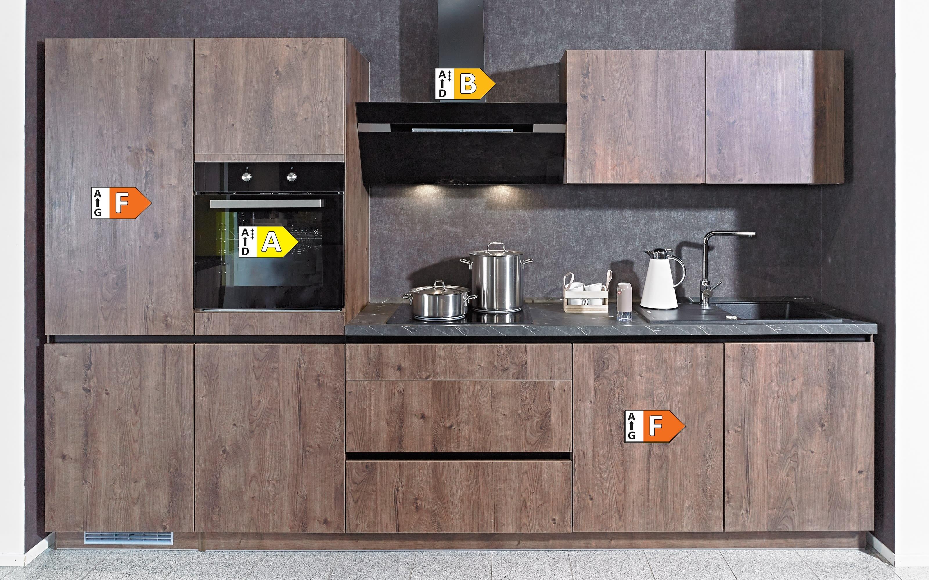 Einbauküche IP2200, Oregon Eiche-Nachbildung, inklusive Privileg Elektrogeräte