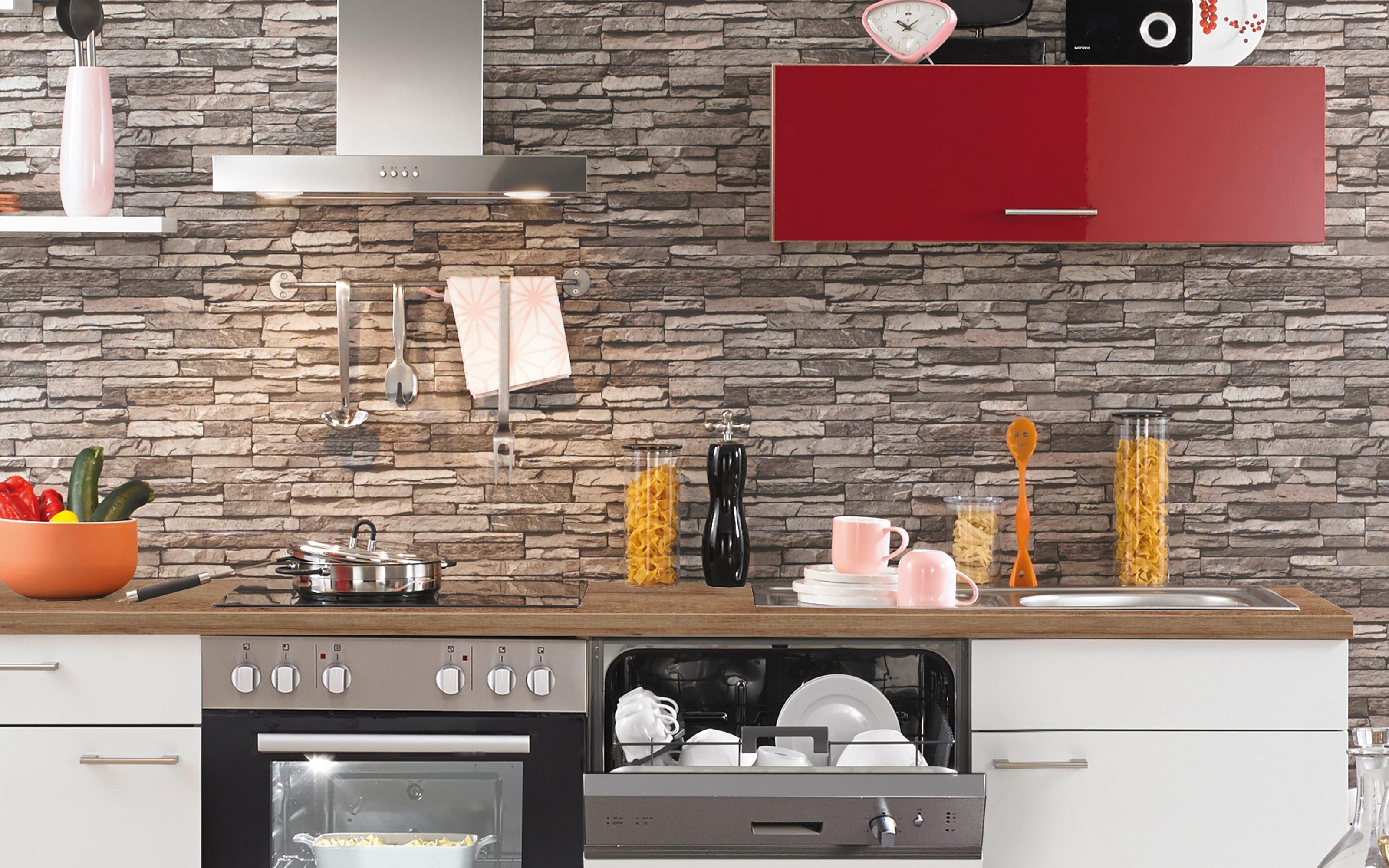 Einbauküche PN270, weiß/rot, inklusive Elektrogeräte