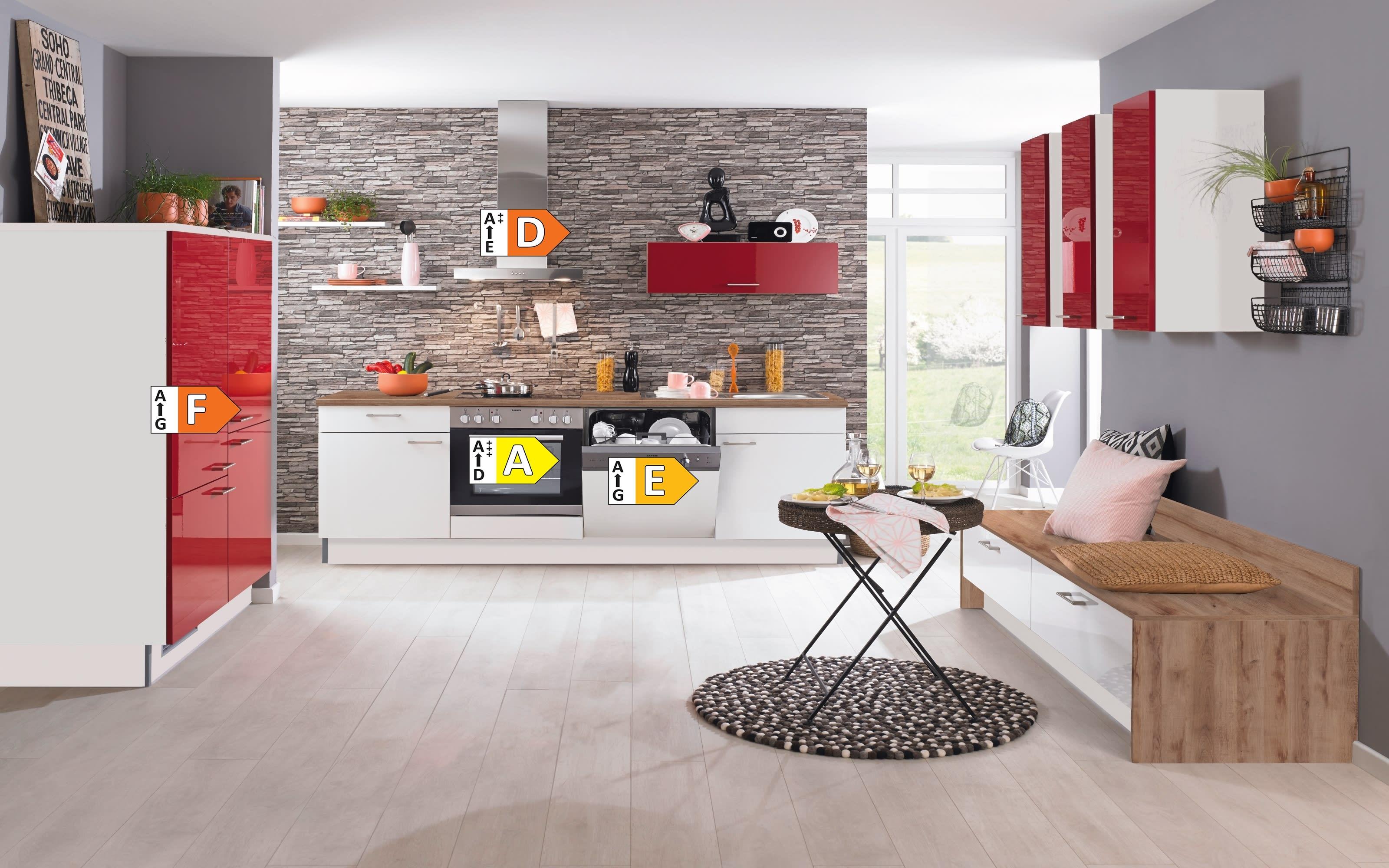 Einbauküche PN270, weiß/rot, inklusive Elektrogeräte, inklusive AEG Geschirrspüler