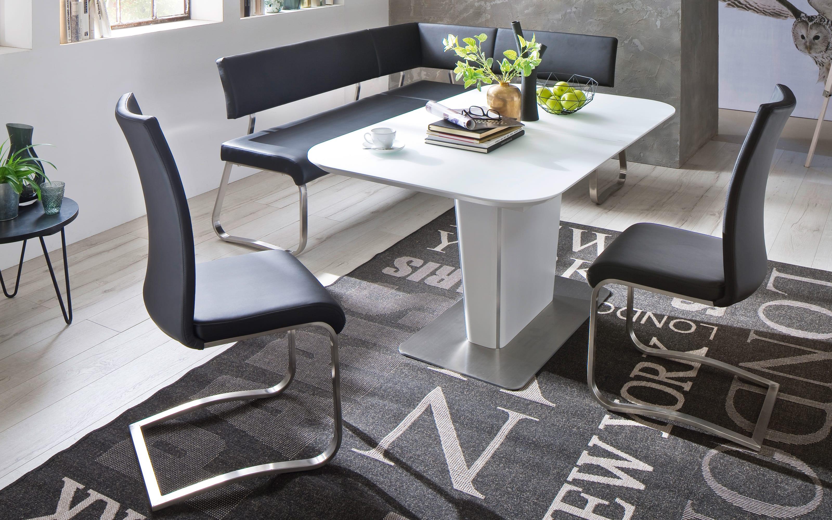 Eckbank Arco aus Kunstleder in schwarz, mit Metallgestell