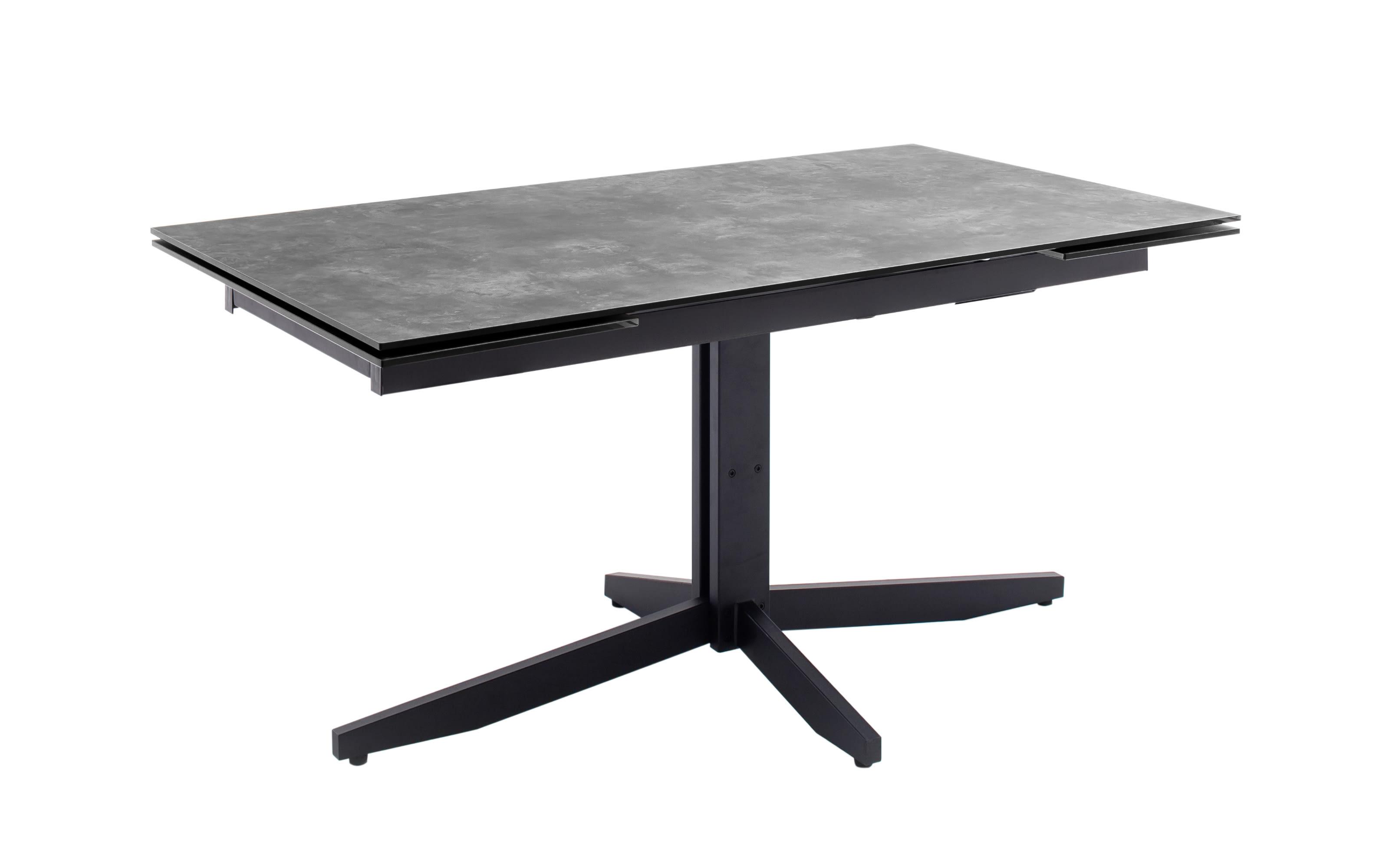 Esstisch Rimini in steinfarbig grau, Gestell in schwarz matt lackiert