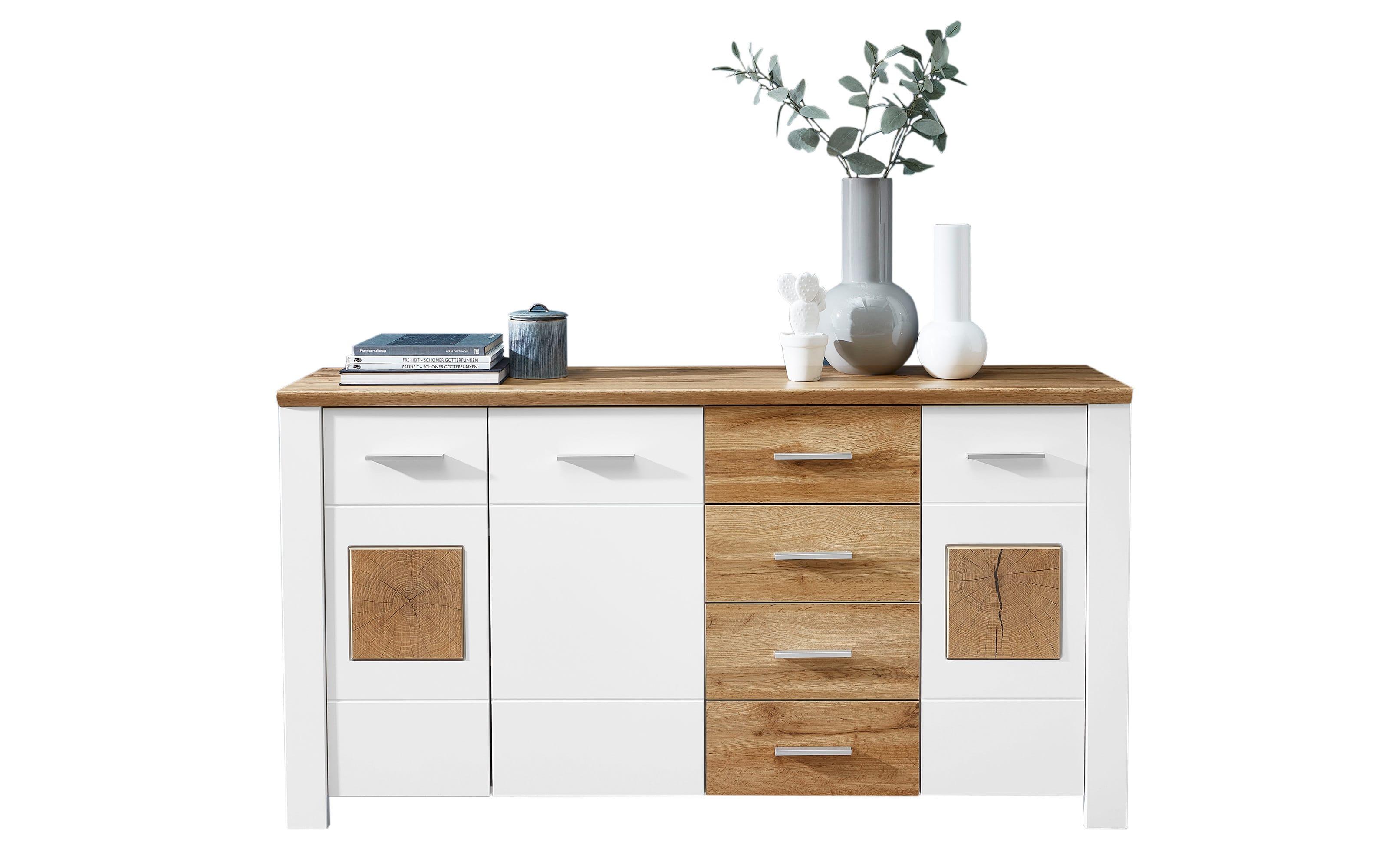 Kommode 6011 in Holz Nachbildung/weiß, 164 cm