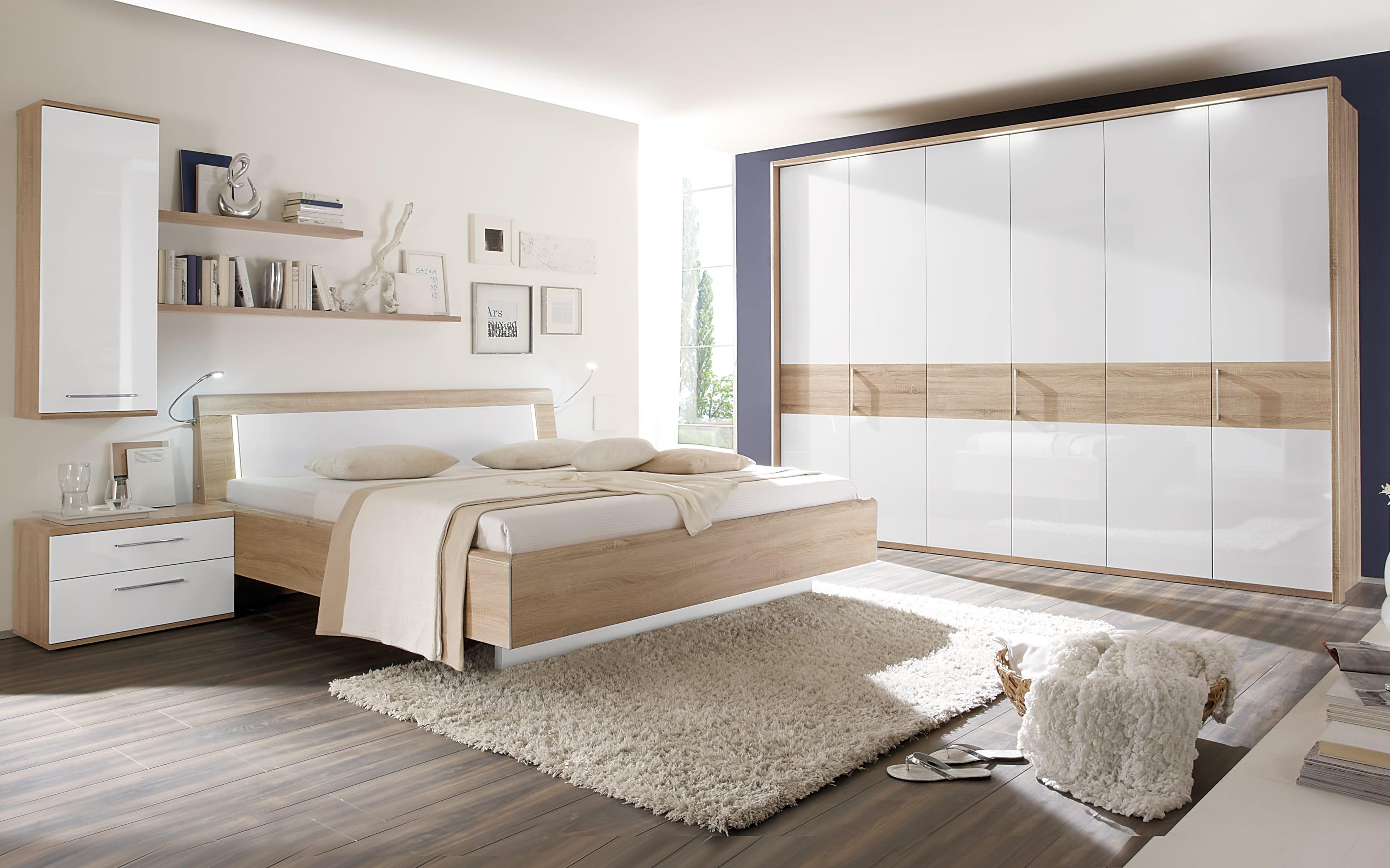 Schlafzimmer Luna in weiß/Eiche Macao Nachbildung, Liegefläche ca. 21 x  21 cm, Schrankbreite ca. 21 cm