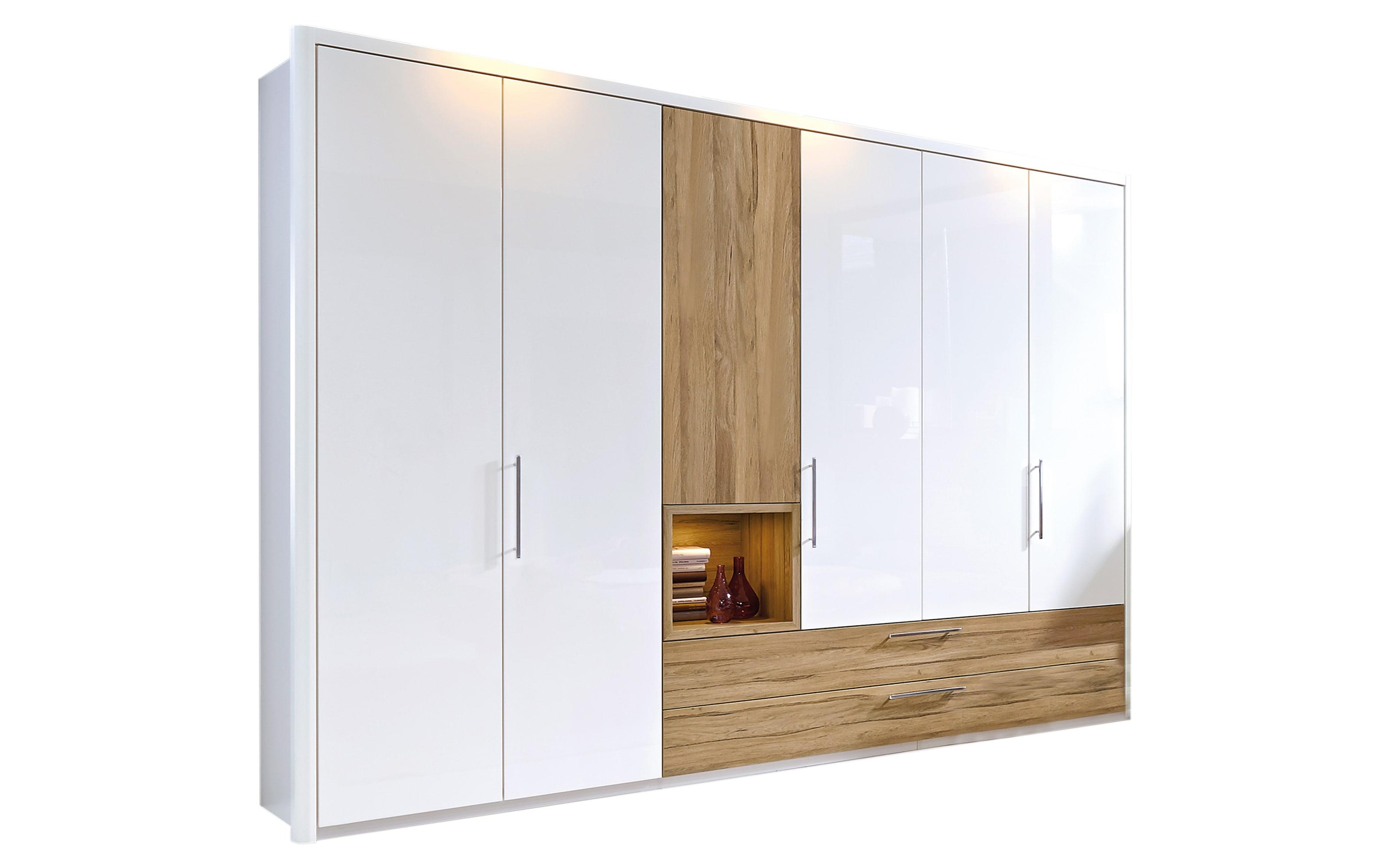 Kleiderschrank Zamaro in bianco weiß Hochglanz/Eiche-Nachbildung, Breite ca. 302 cm