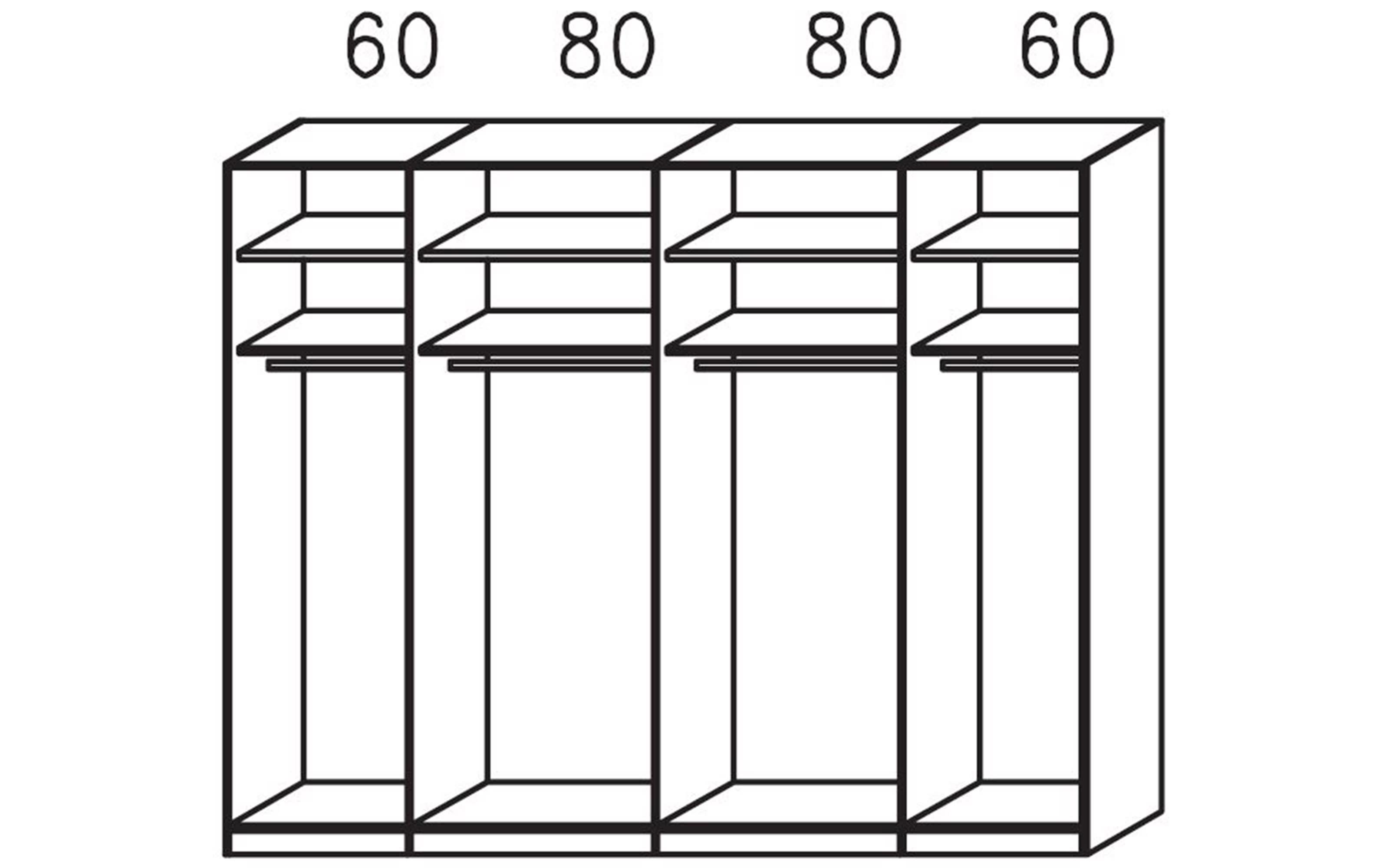 Schwebetürenschrank Tegio in fango/Nussbaum-Nachbildung, Breite ca. 280 cm