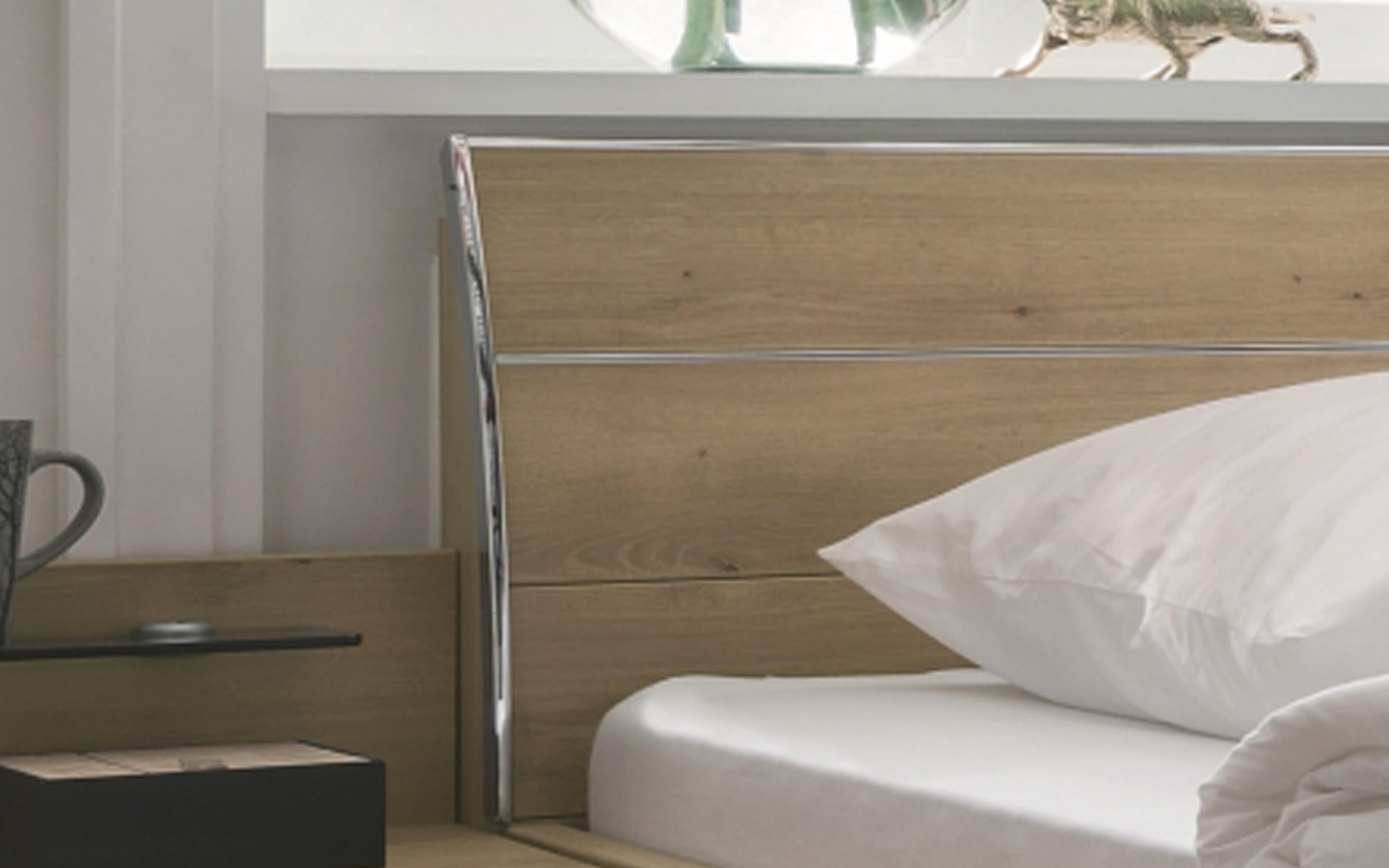 Schlafzimmer Loft in weiß/Bianco Eiche-Nachbildung, Liegefläche 180 x 200 cm, Schrankbreite 300cm