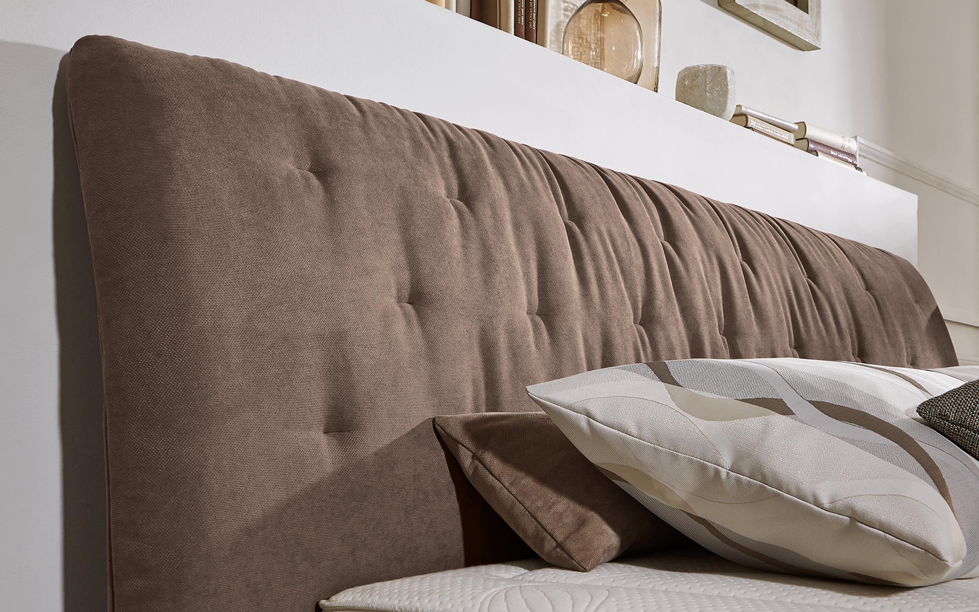 Boxspringbett Prodomo-Comfort in Billie nougart, Liegefläche ca. 180 x 200 cm, Matratzen Härtegrad 2 und Härtegrad 3