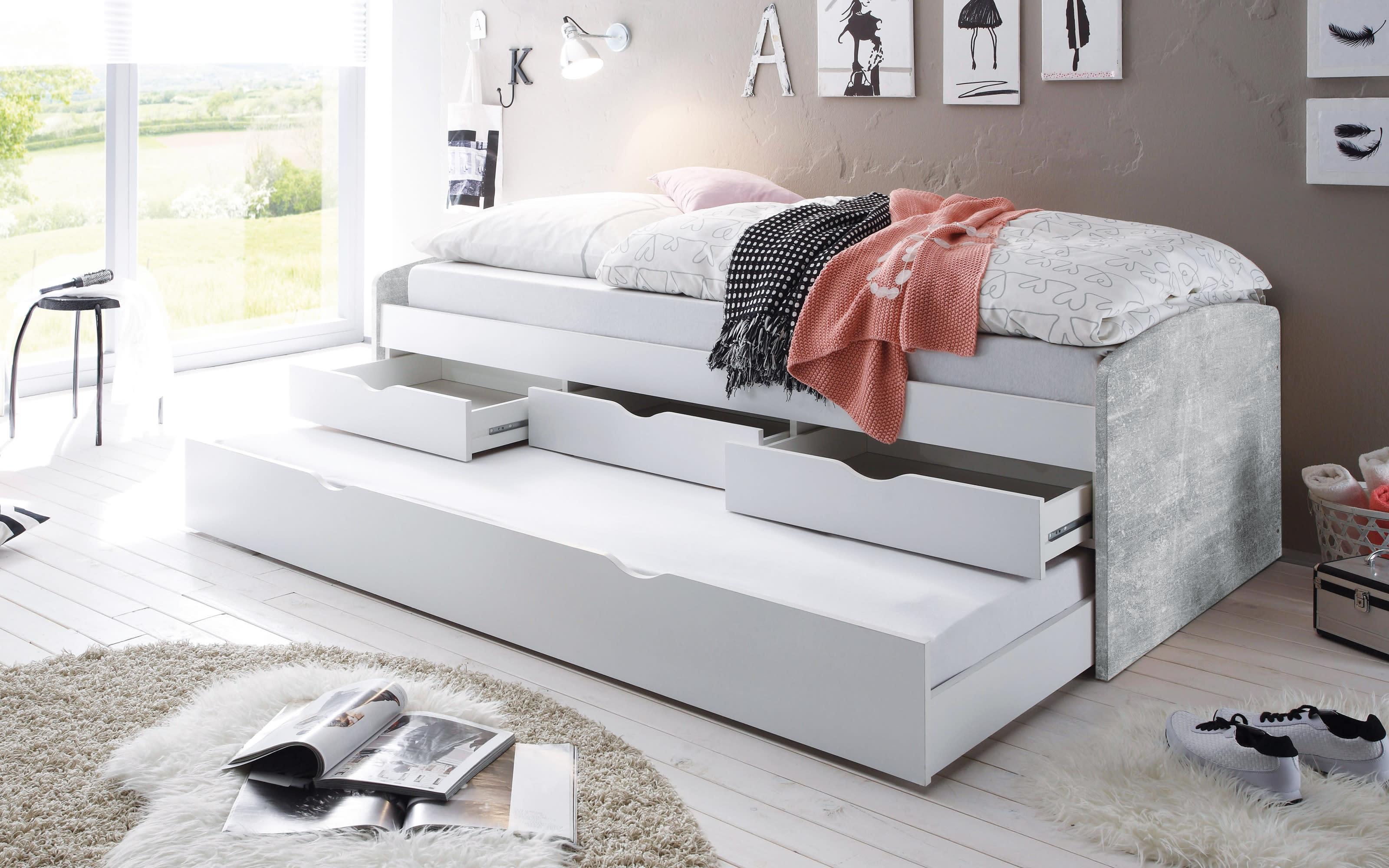 Tandemliege Nessi in betonfarbig/weiß