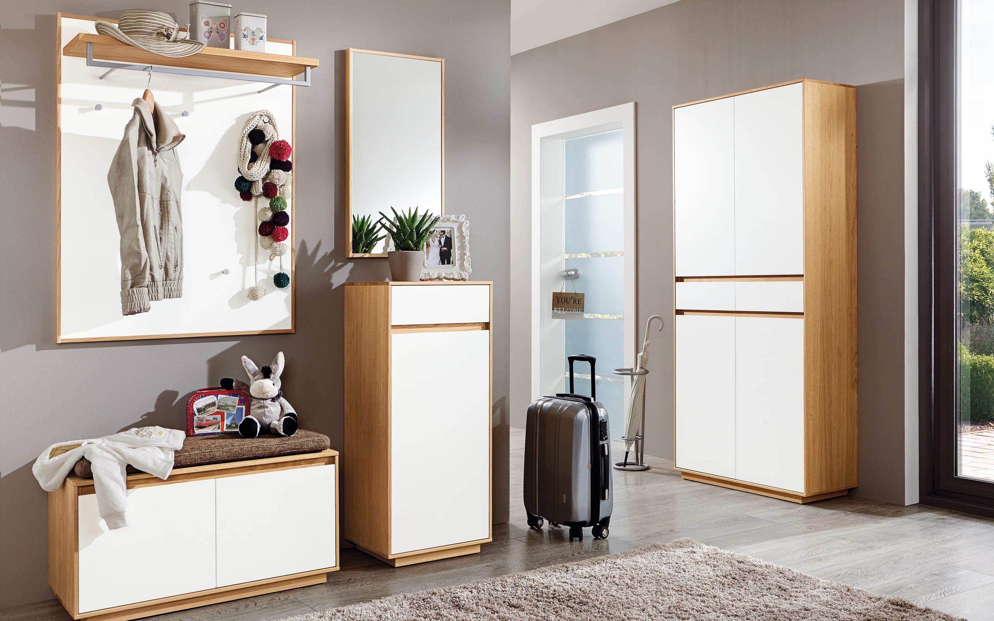 Garderobenbank V100 Set 1 in weiß/Eiche bianco