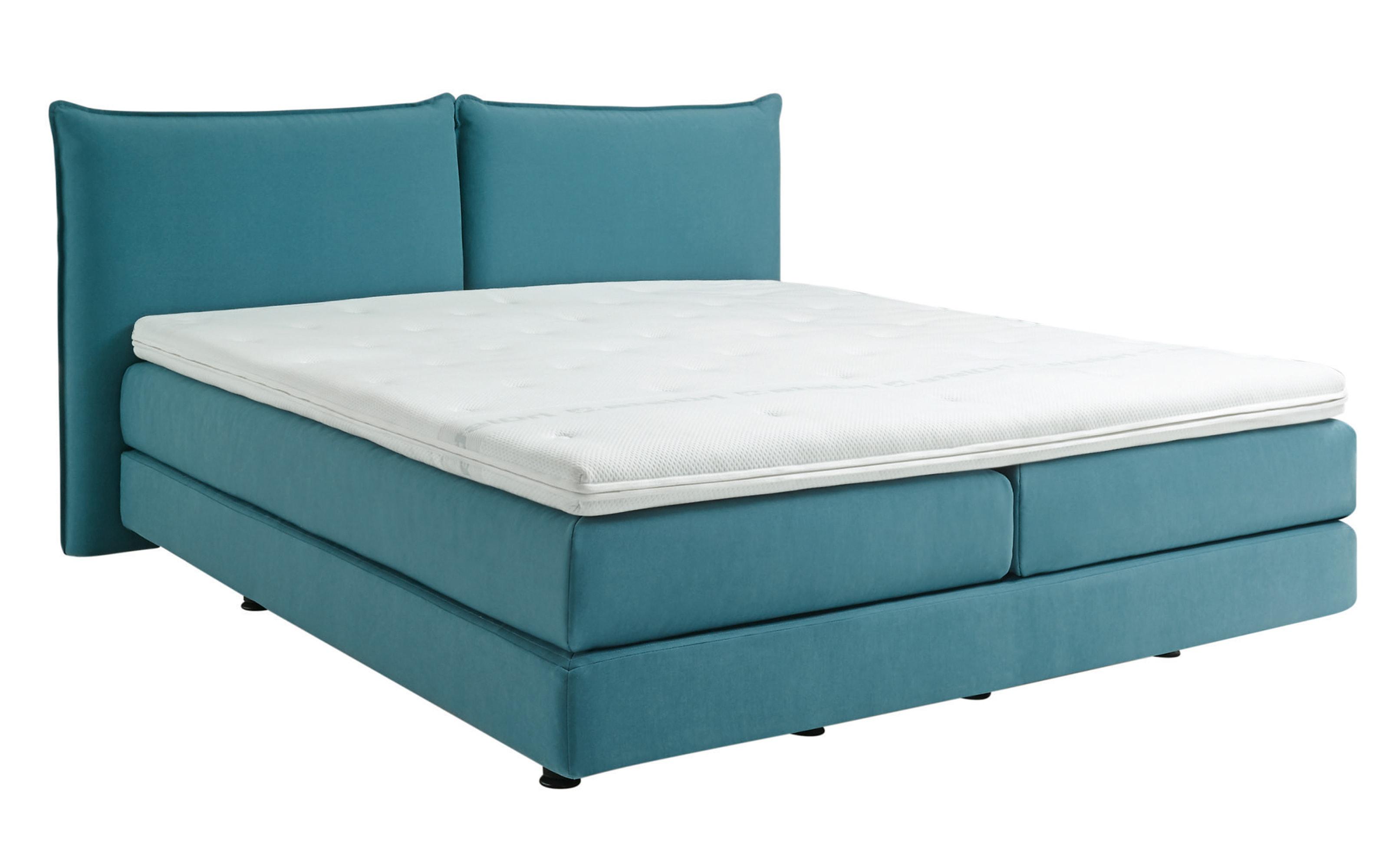 Boxspringbett in blau, 7-Zonen Tonnentaschenfederkern, Liegefläche ca. 180 x 200 cm