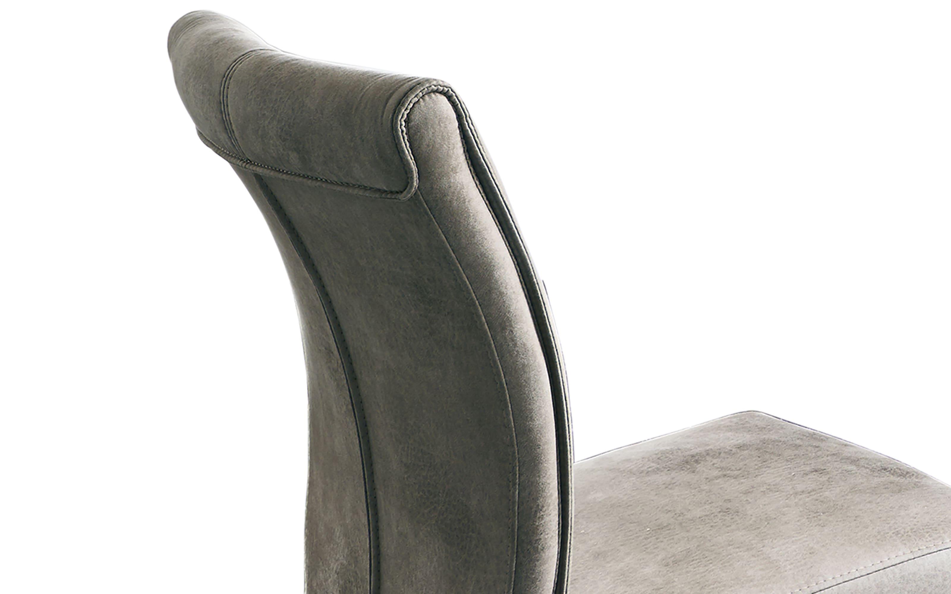 Schwingstuhl 3001 Alexa in stone, mit schwarzem Rundrohrgestell aus Eisen
