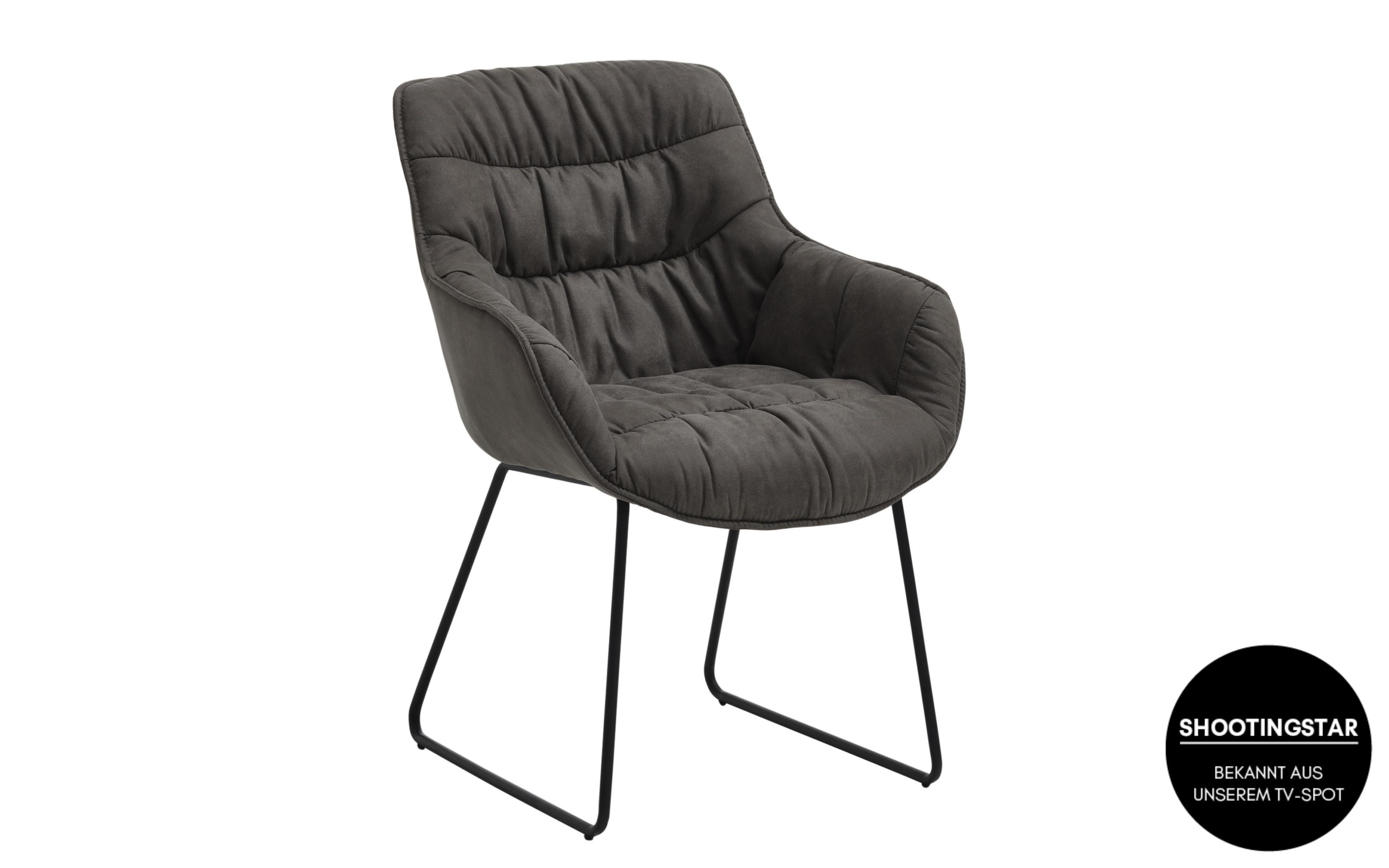 Sessel Fluffy in graphit, mit schwarzem Kufengestell aus Eisen