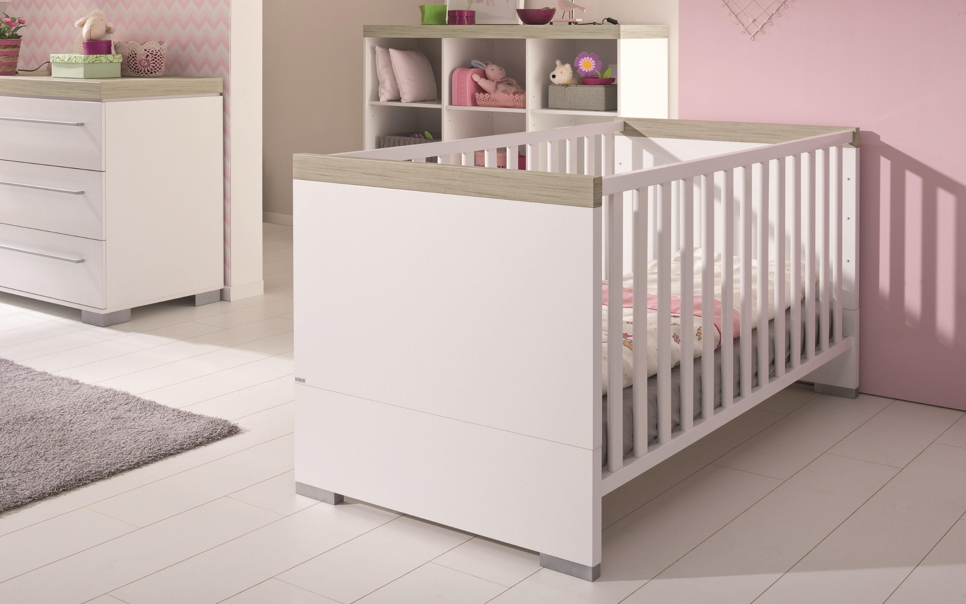 Kinderbett Kira in kreideweiß/Eiche-Nautik-Nachbildung