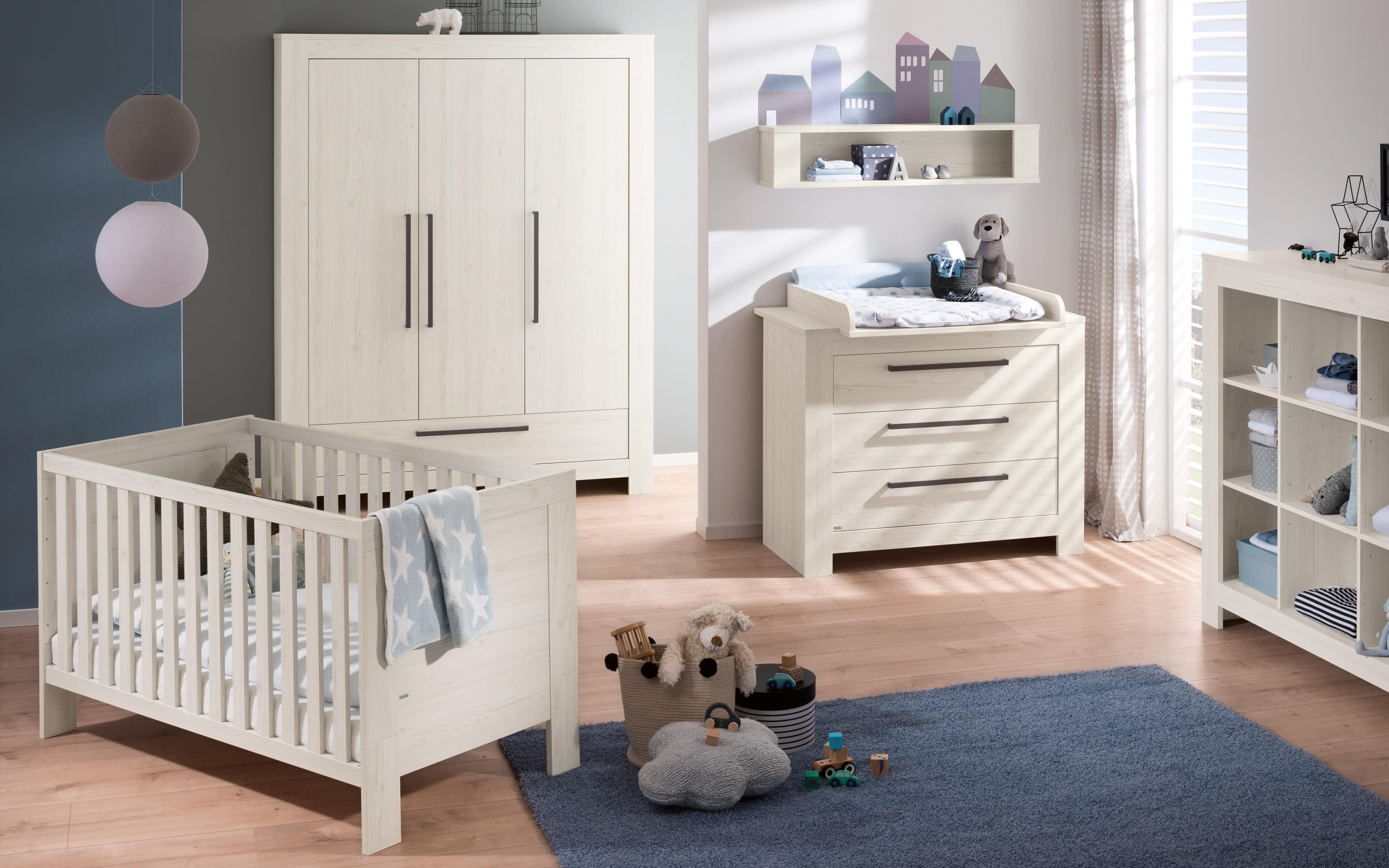 Wickelaufsatz für Babyzimmer Laslo in Nordic Wood-Nachbildung
