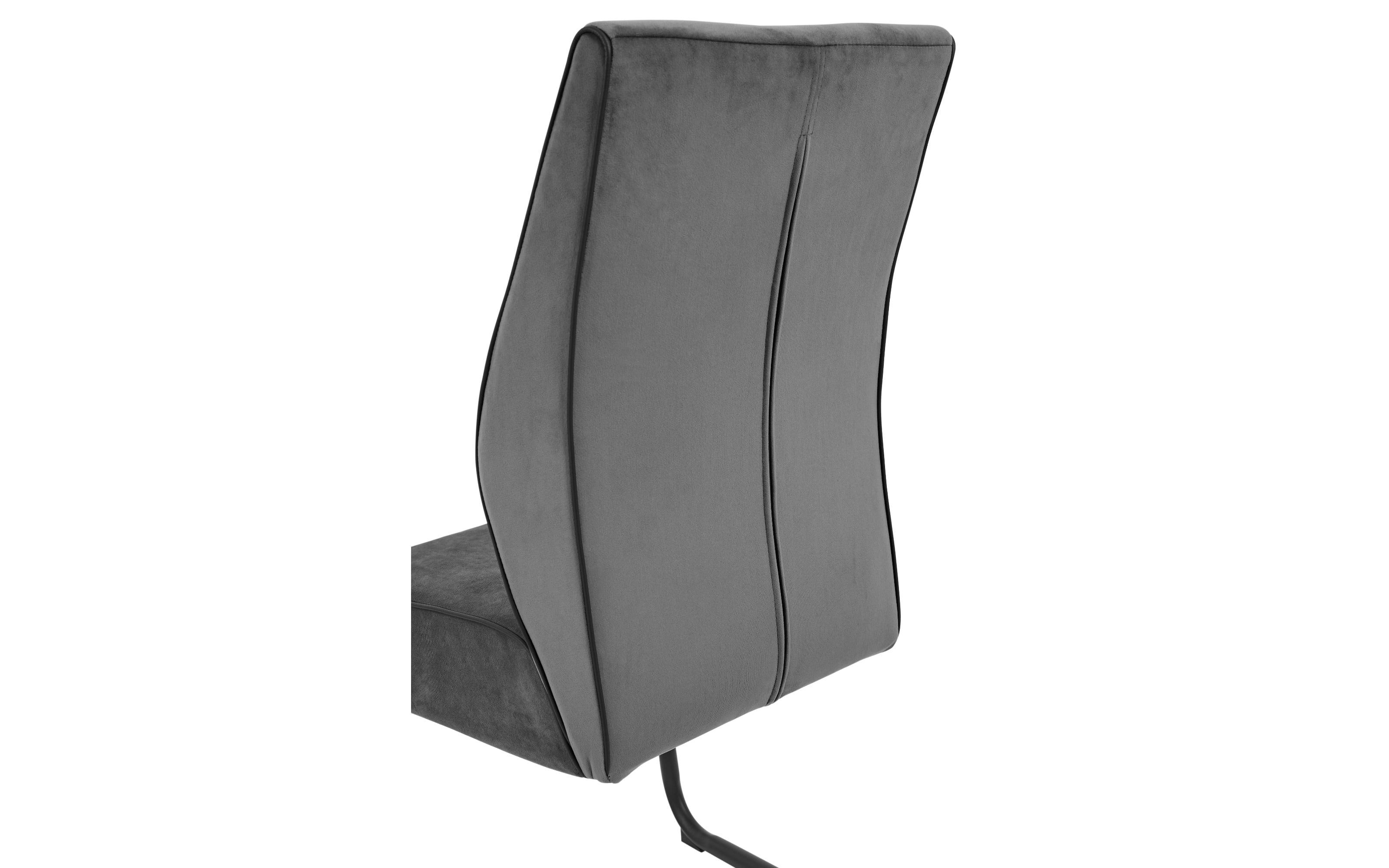 Schwingstuhl Manacor in grau, mit schwarzem Metallgestell