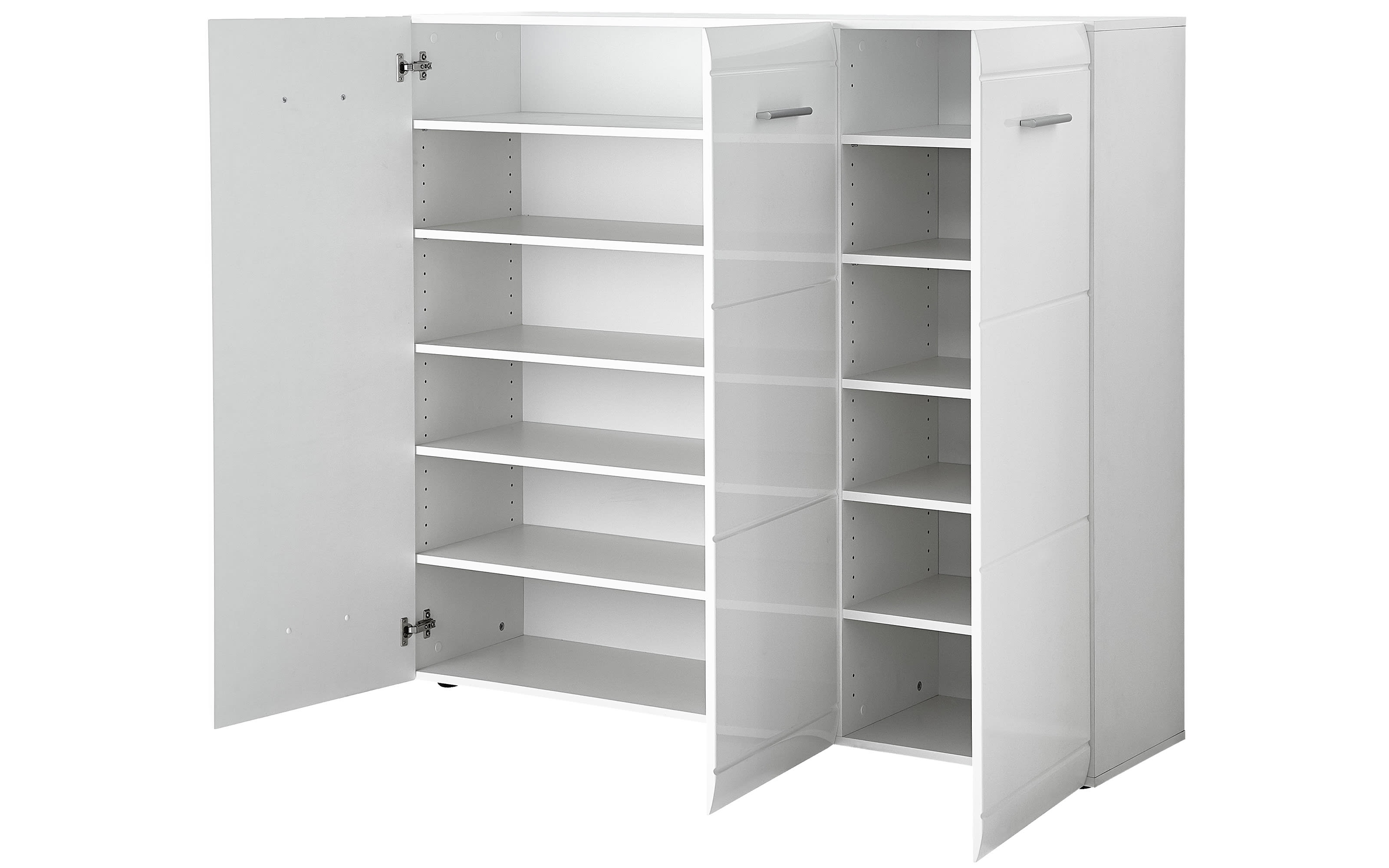 Schuhschrank GW-Adana in weiß Hochglanz, 134 x 120 x 36 cm