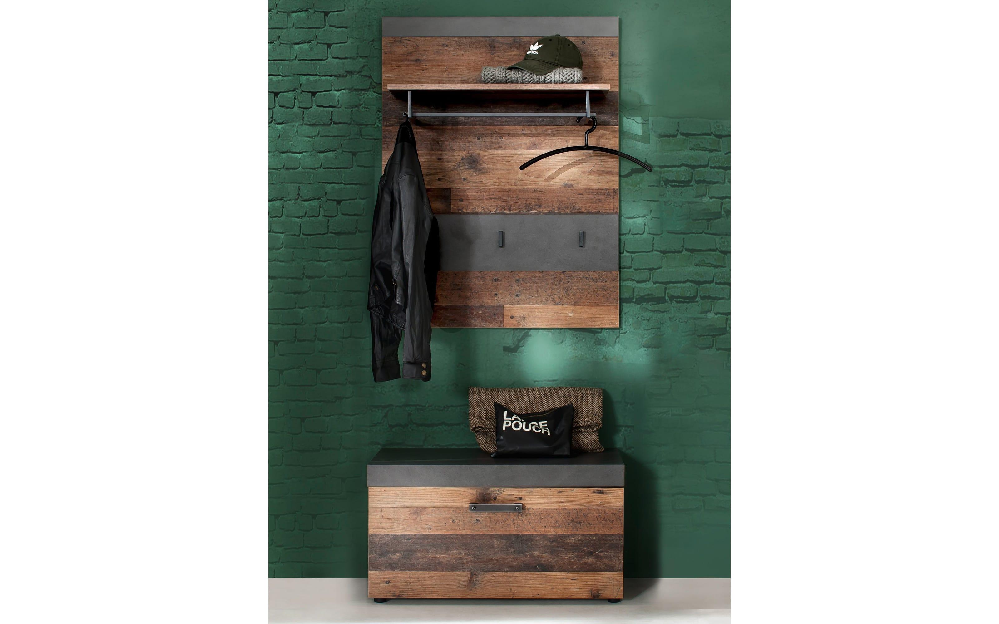 Garderobenpaneel Indy in Old Wood-Nachbildung/graphit