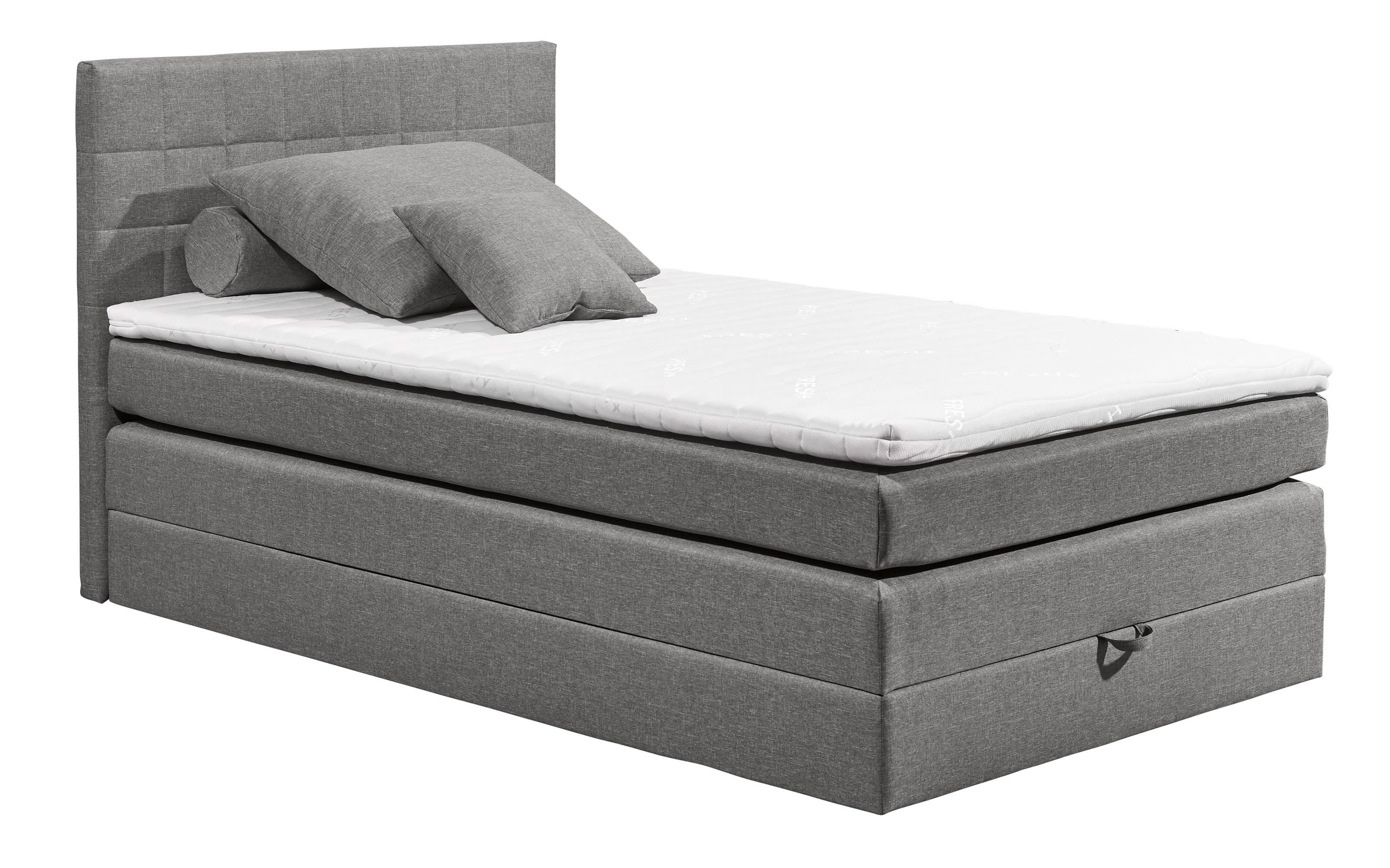 Boxspringbett Hawaii 2 in light grey, mit Bettkasten, inklusive Komfortschaum-Topper