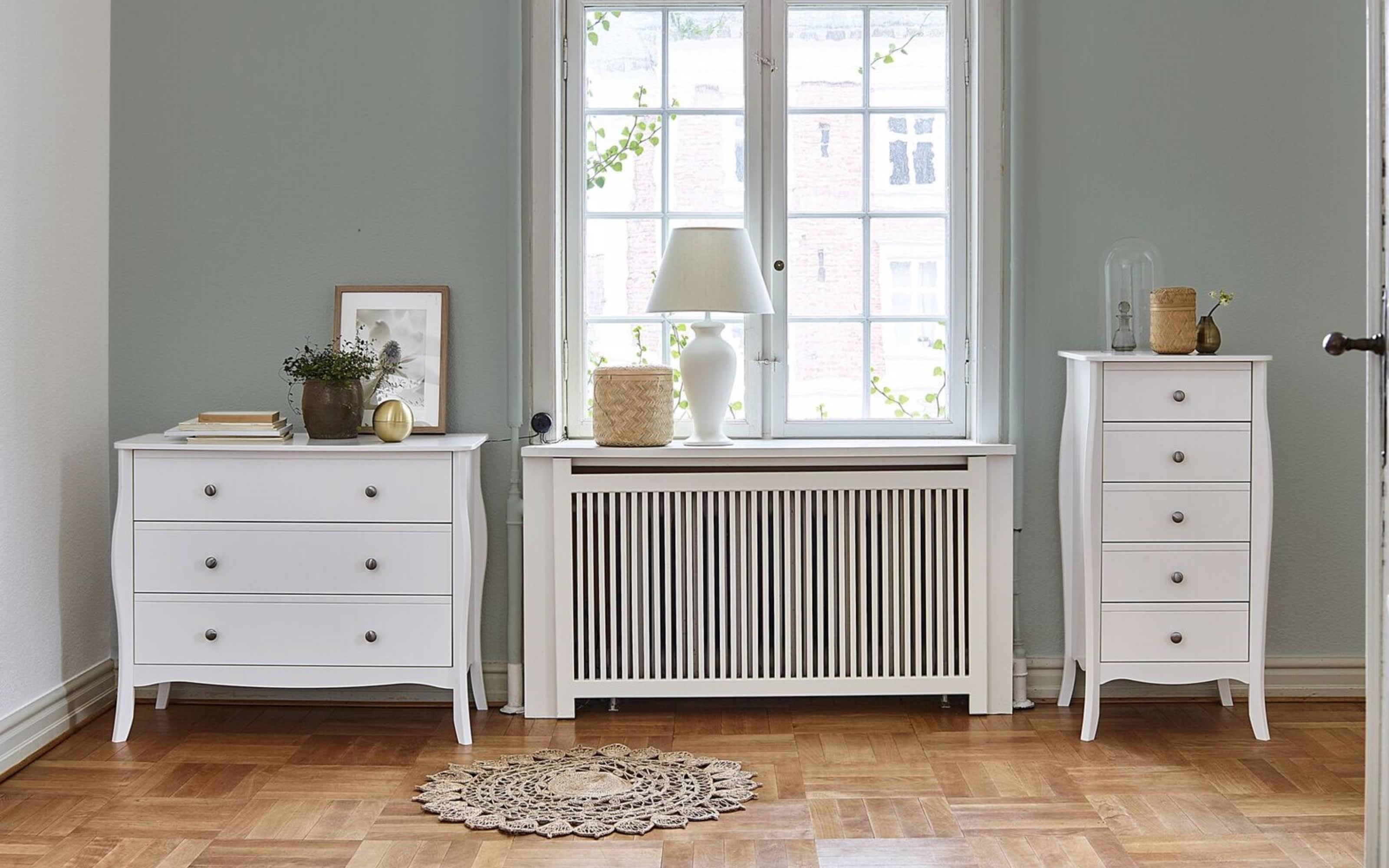 Kommode Baroque in weiß, 3 Schubkästen