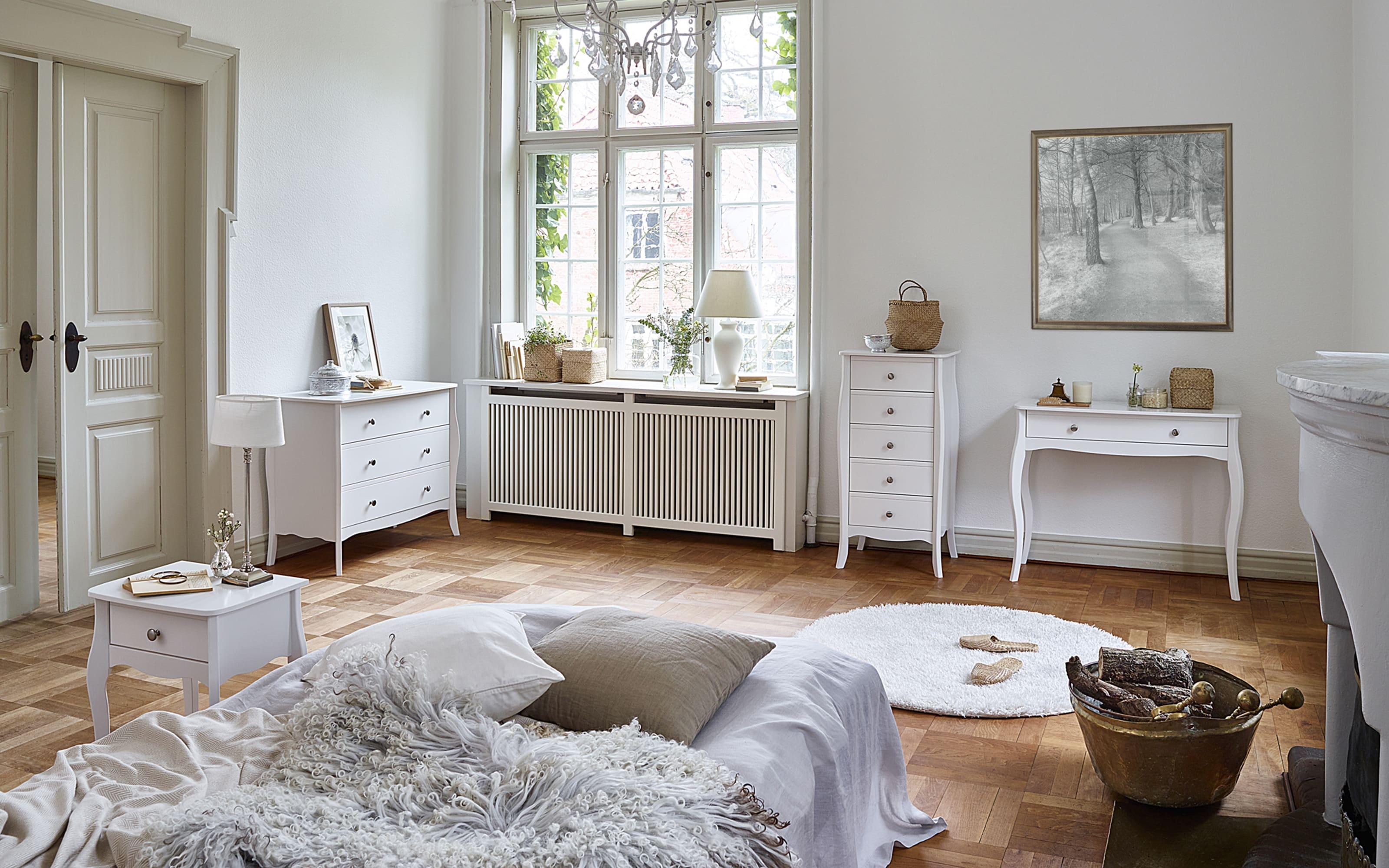 Kommode Baroque in weiß, 5 Schubkästen