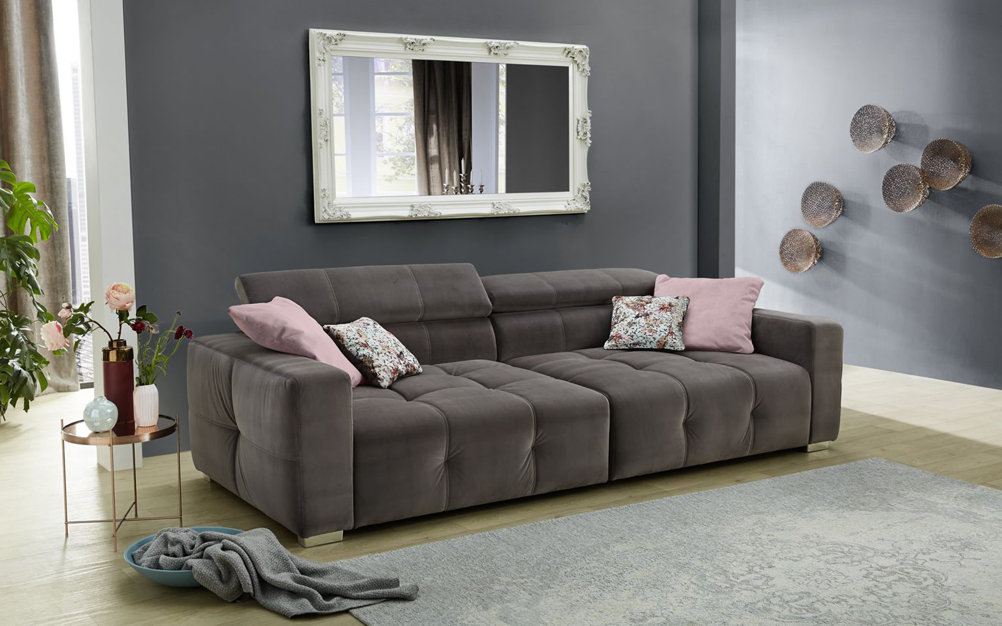 Big Sofa Trento in grau