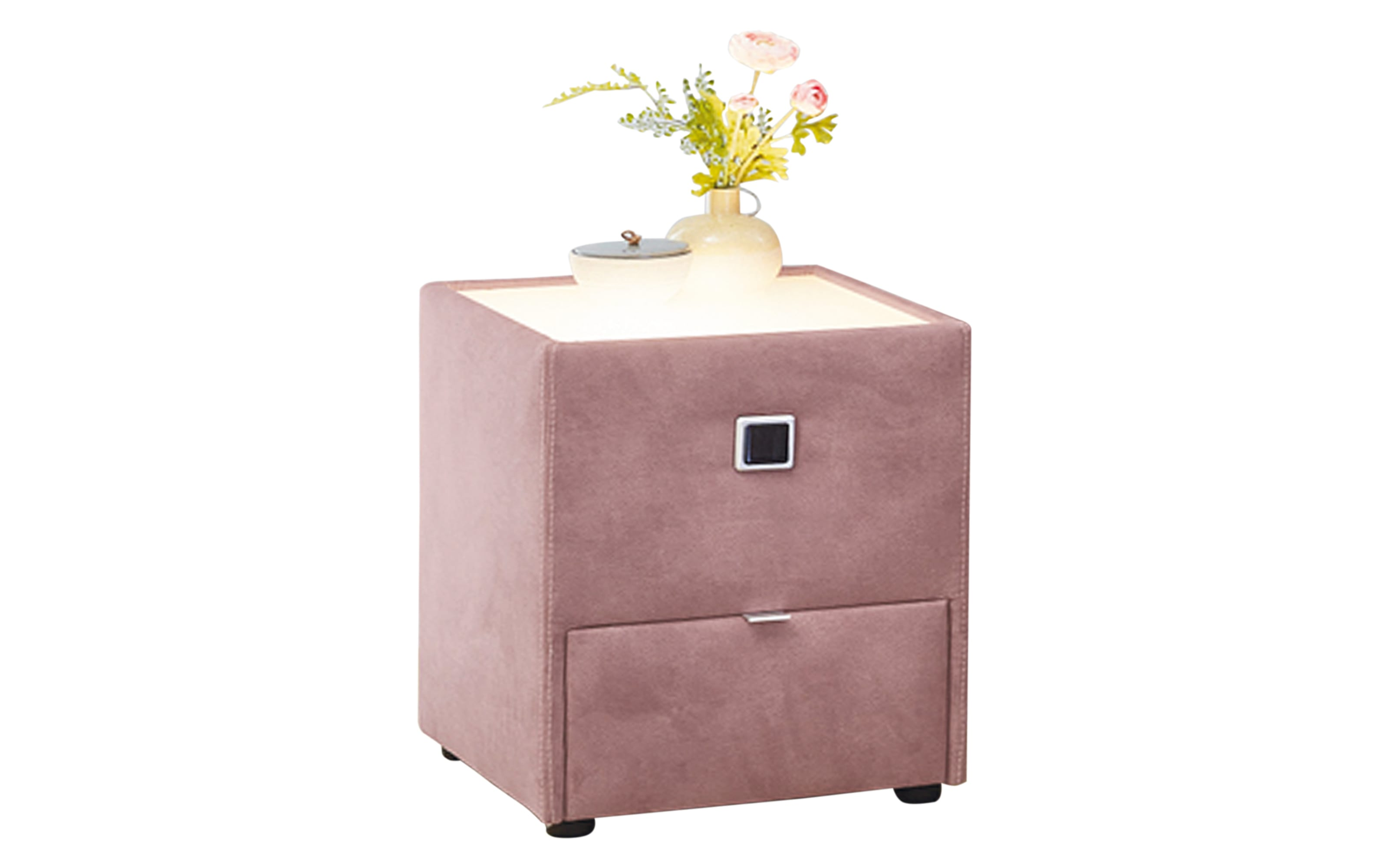 Nachtkonsole Lancy in Dessin 369/05 rosa