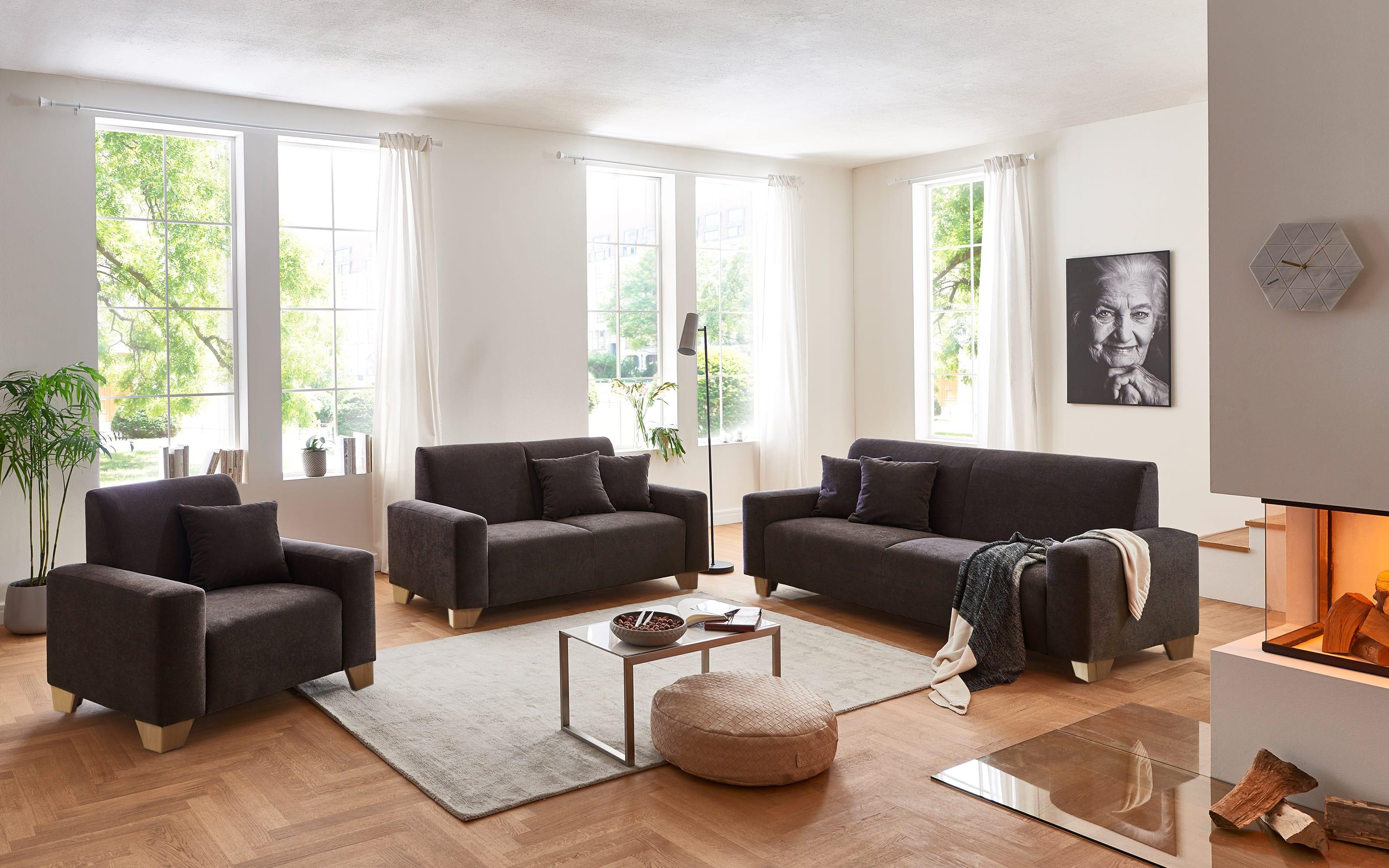 Sofa 3-Sitzer Julia in braun, mit Federkern-Polsterung und Kissen