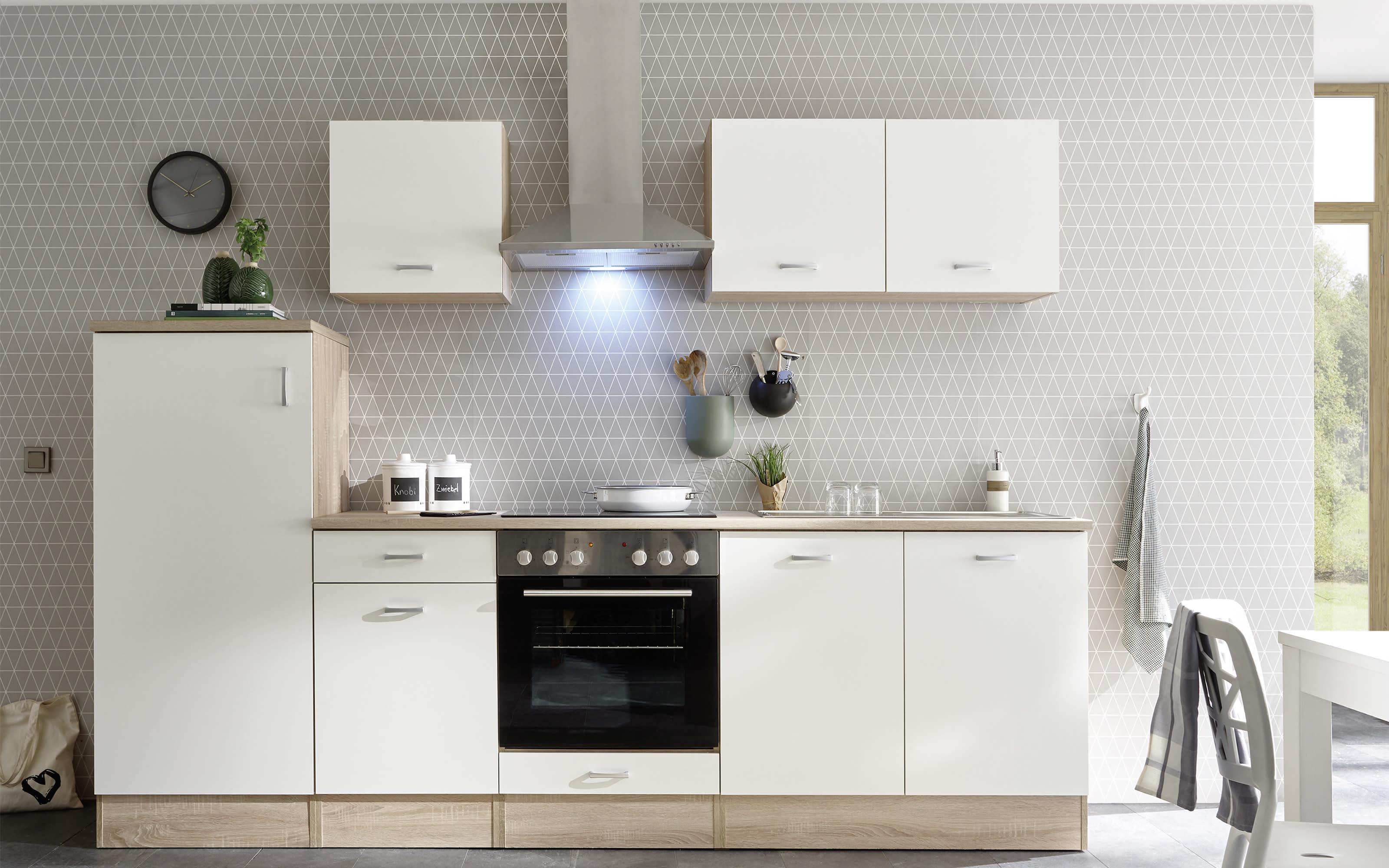 Küchenblock Andy in weiß/Sonoma-Eiche-Nachbildung, ohne Elektrogeräte